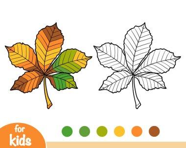 Coloring book for children, Horse Chestnut leaf