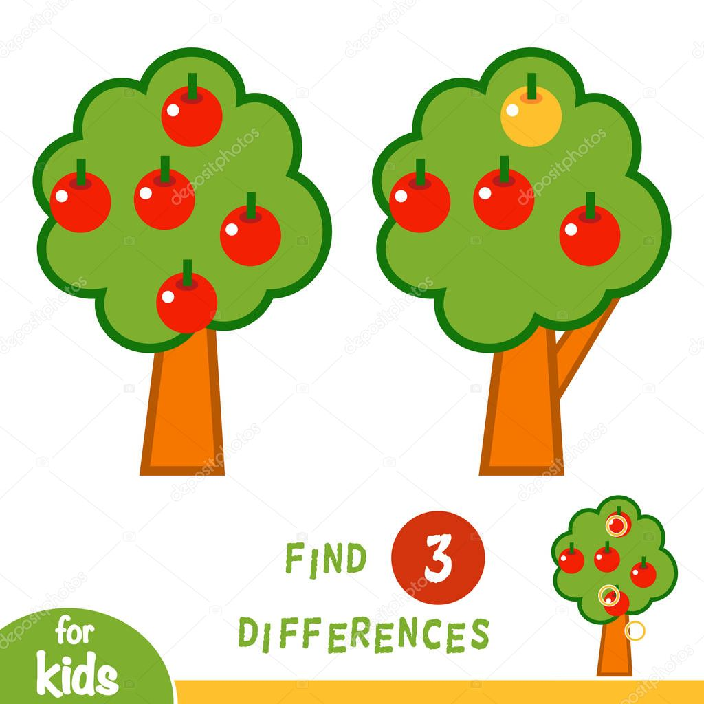 Find differences, education game for children, Apple tree