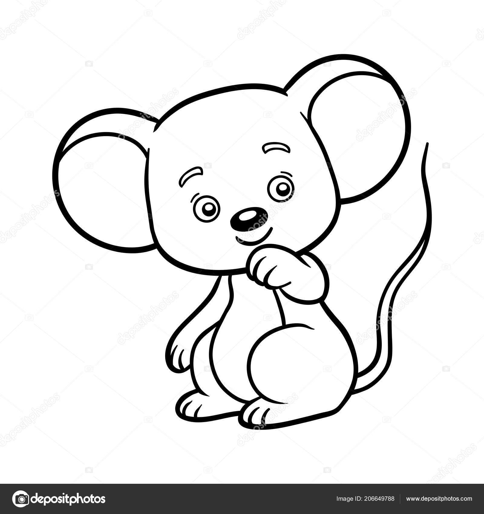 Libro Colorear Para Niños Ratón — Archivo Imágenes Vectoriales