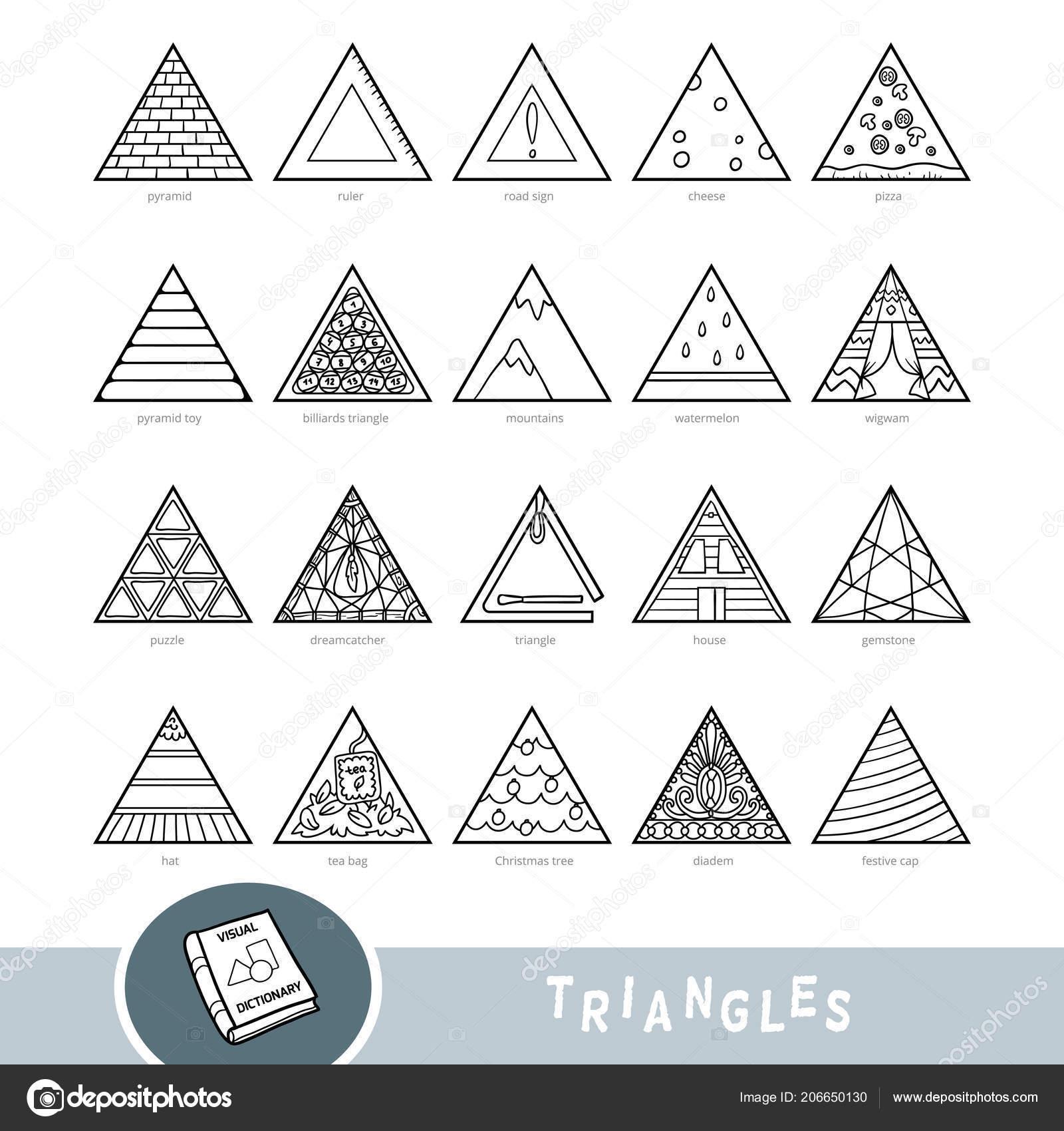 Blanco Negro Conjunto Objetos Forma Triángulo Diccionario Visual