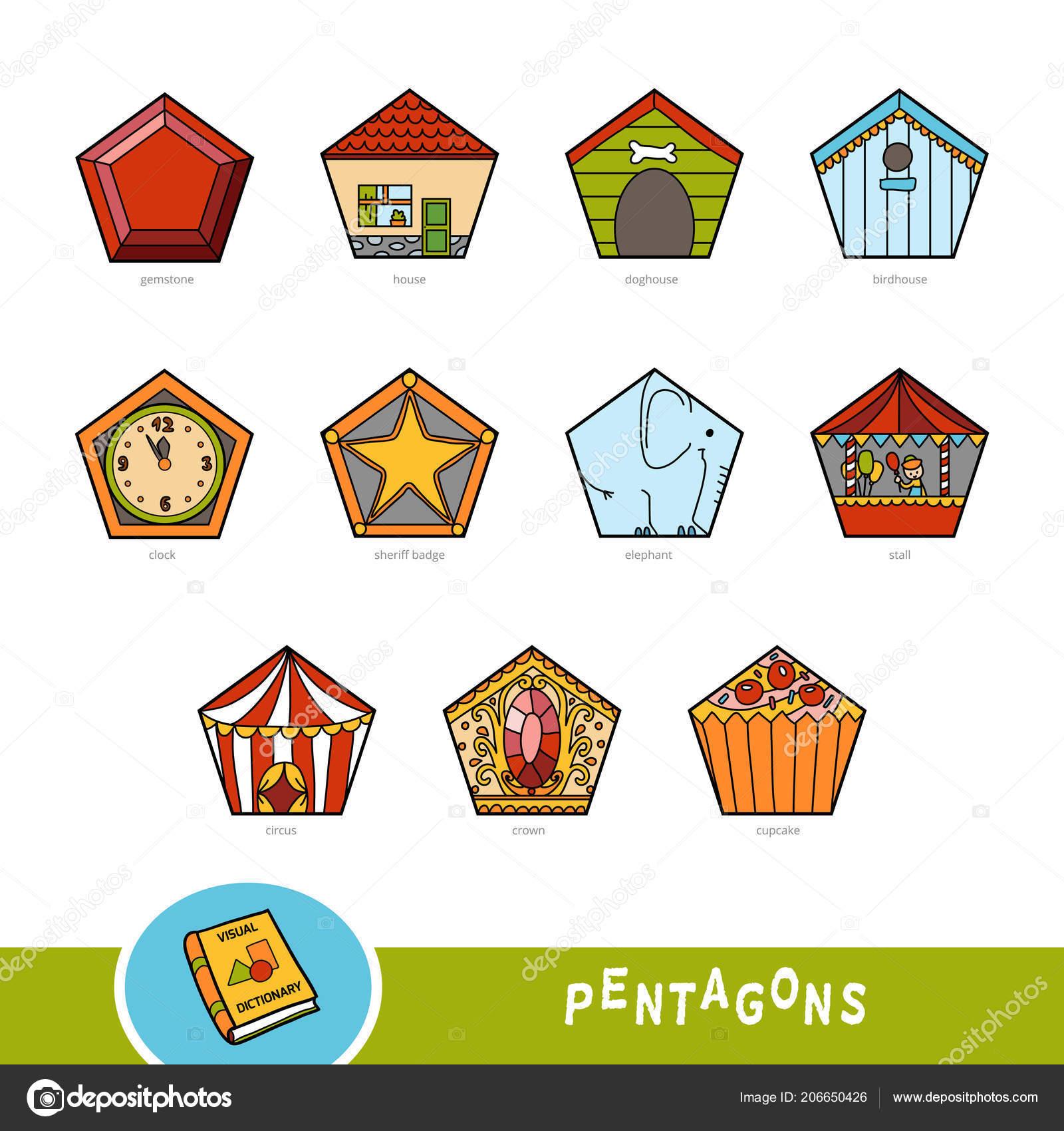 a193538f25 Insieme variopinto di oggetti di forma di Pentagono. Dizionario illustrato  per bambini sulle forme geometriche. Formazione impostata per lo studio  della ...