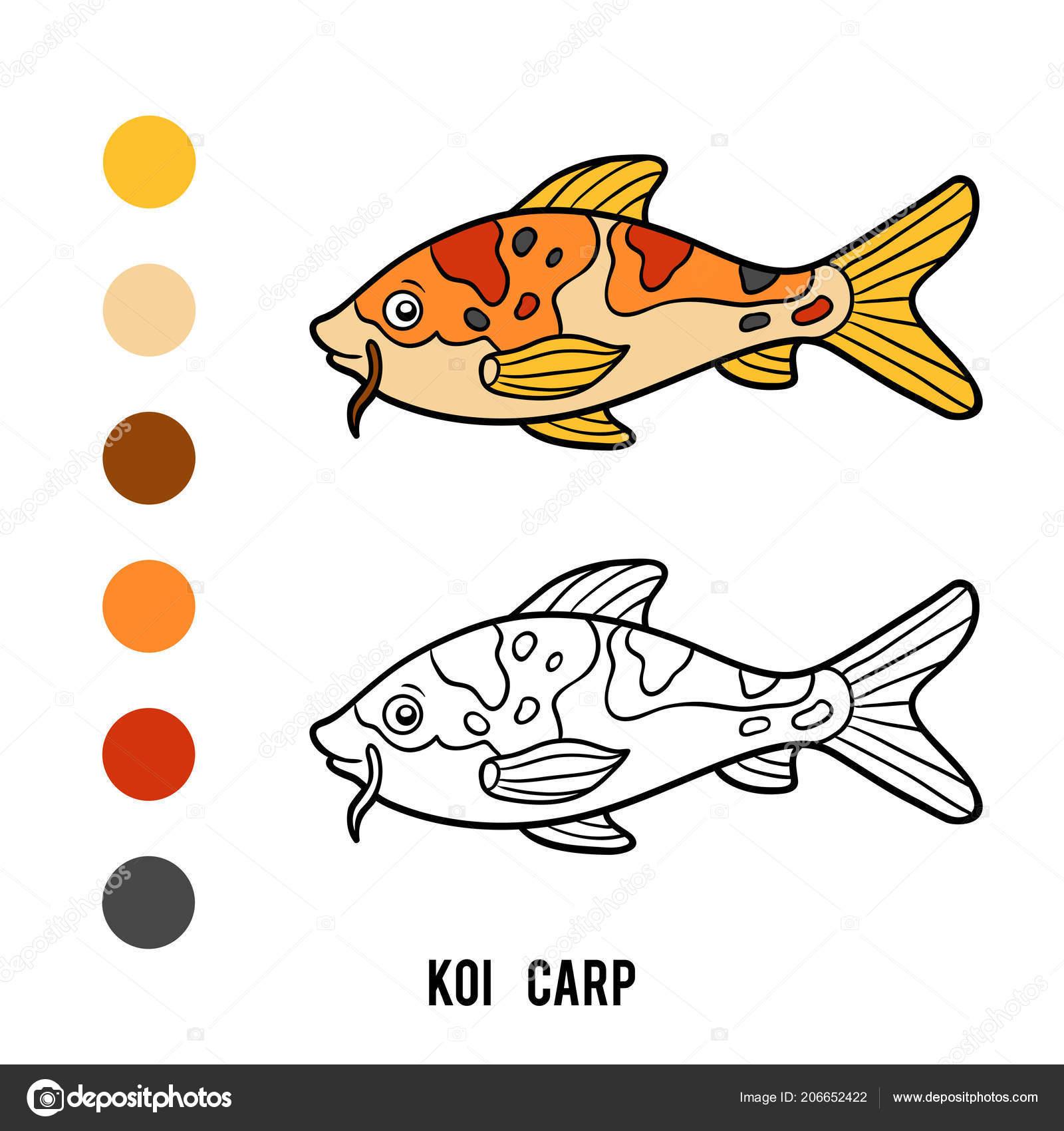 Coloring Book Children Cartoon Animal Koi Carp Stock Vector