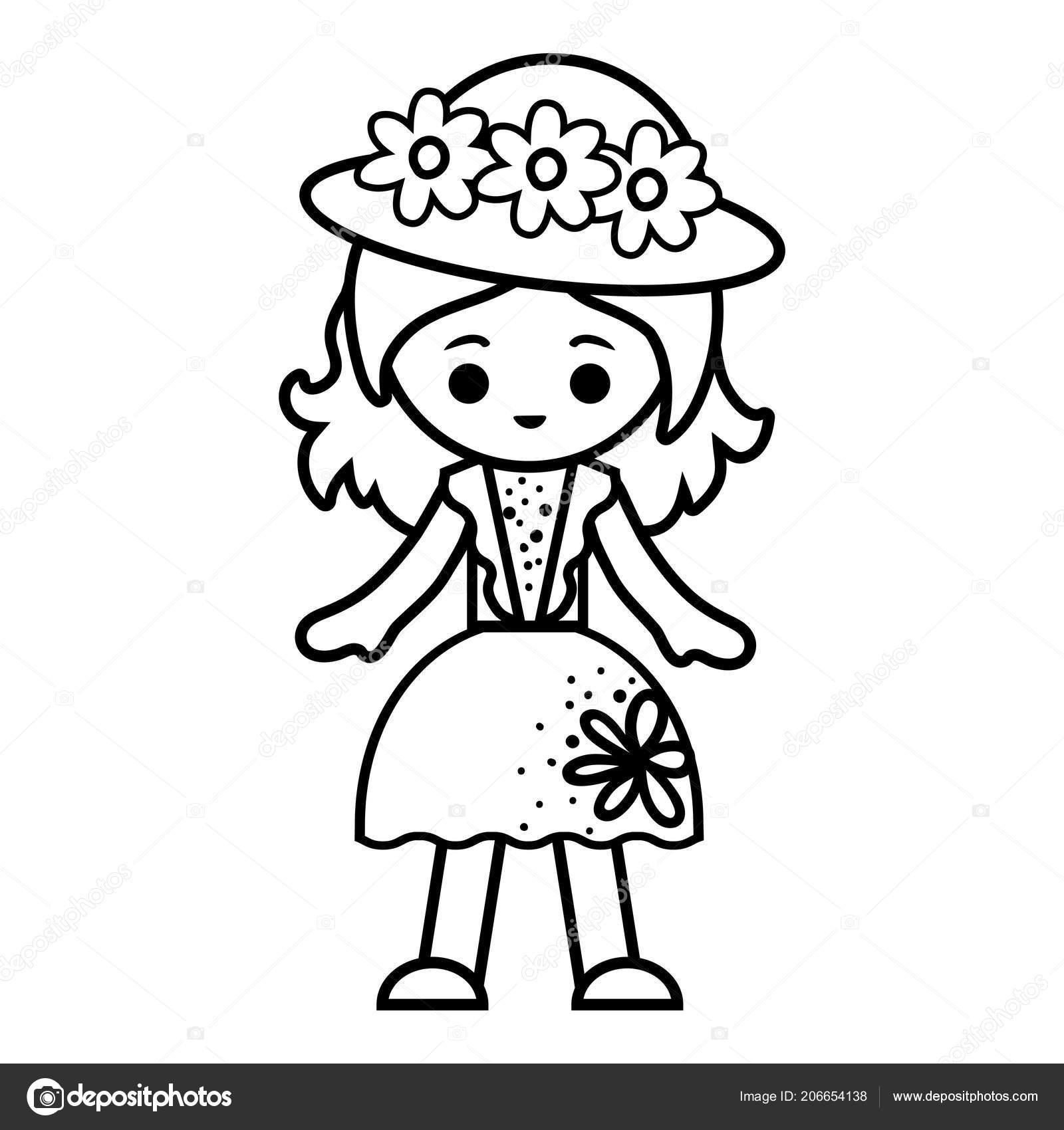 şapka Yaz Elbiseli Kız çocuklar Için Boyama Kitabı Stok Vektör