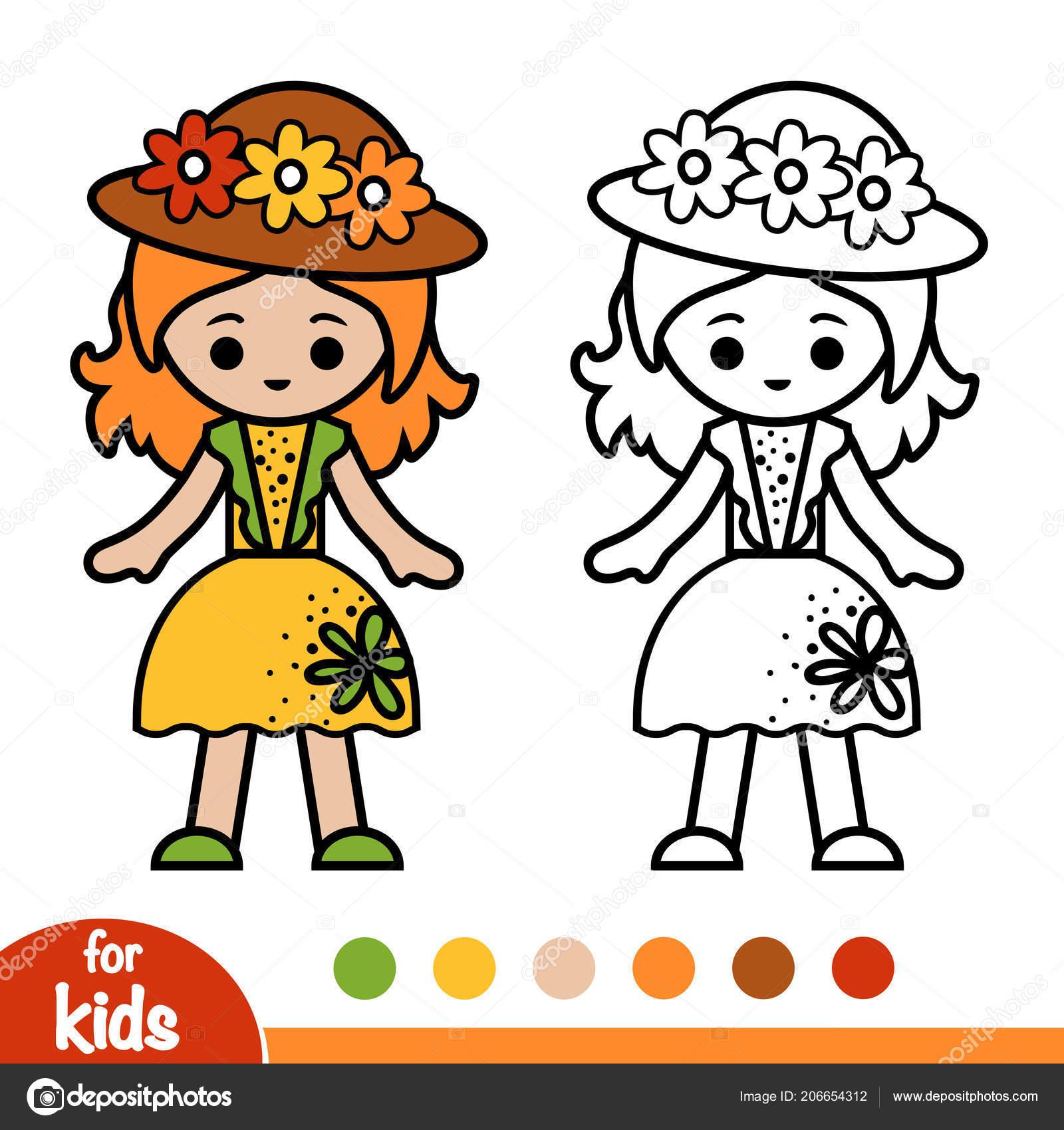 Livre Coloriage Pour Les Enfants Jeune Fille Robe Chapeau Ete