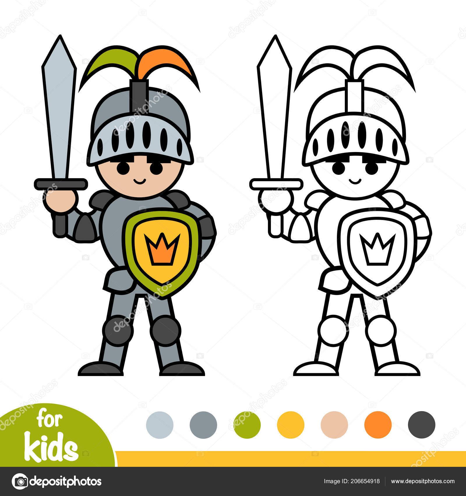 Coloring Book Children Knight Stock Vector C Ksenya Savva 206654918
