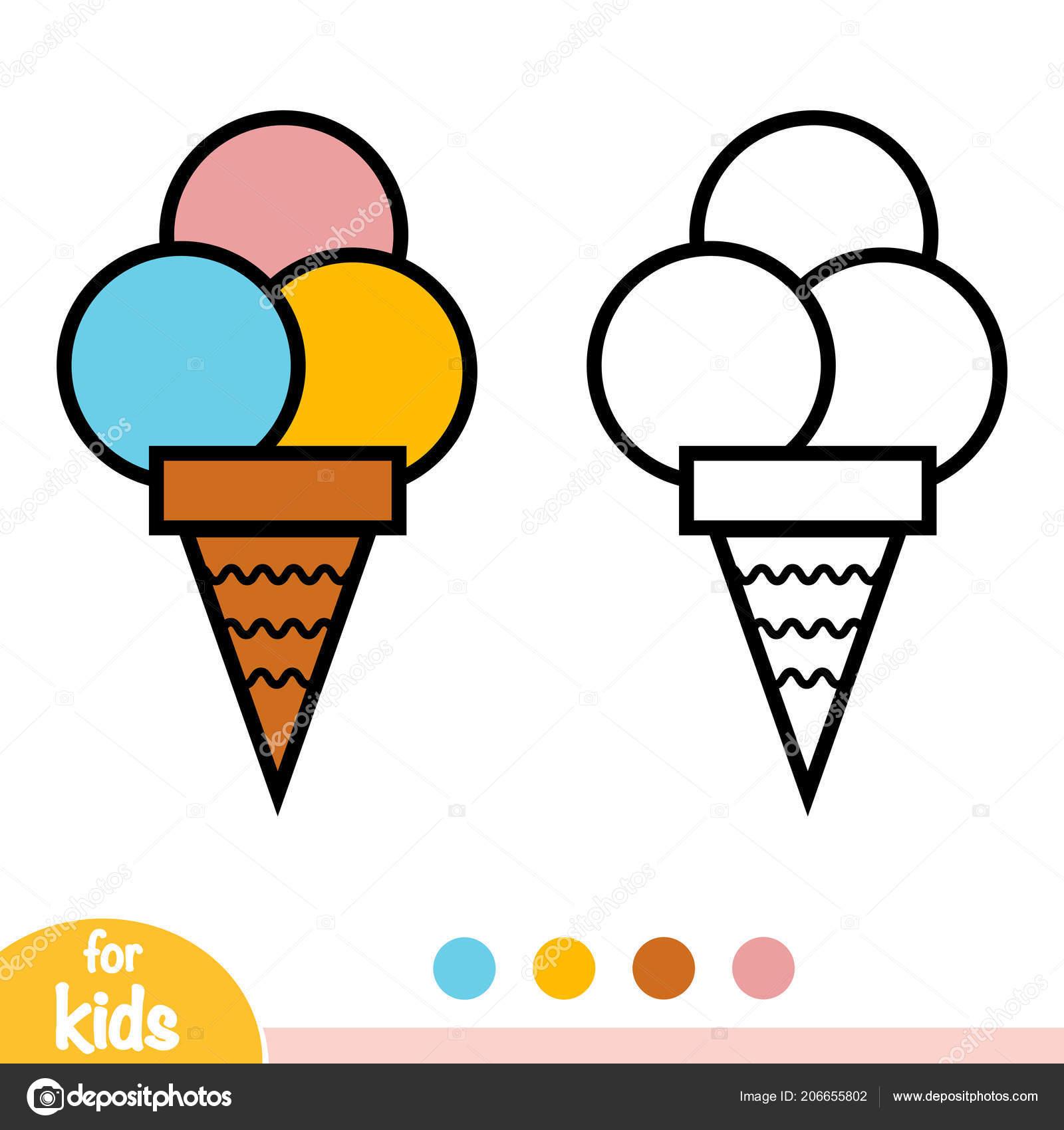 Dondurma çocuklar Için Boyama Kitabı Stok Vektör Ksenyasavva