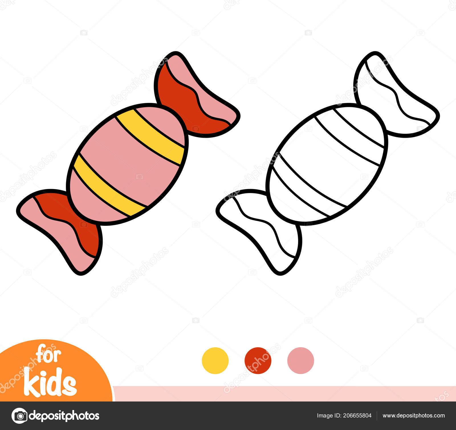 раскраска детей конфеты векторное изображение