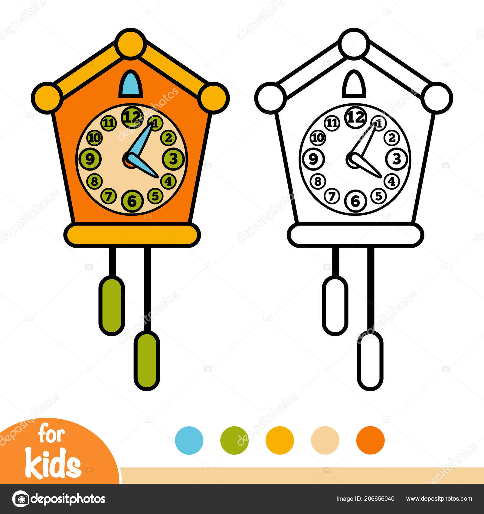 Libro Colorear Para Niños Reloj Cuco Vector De Stock