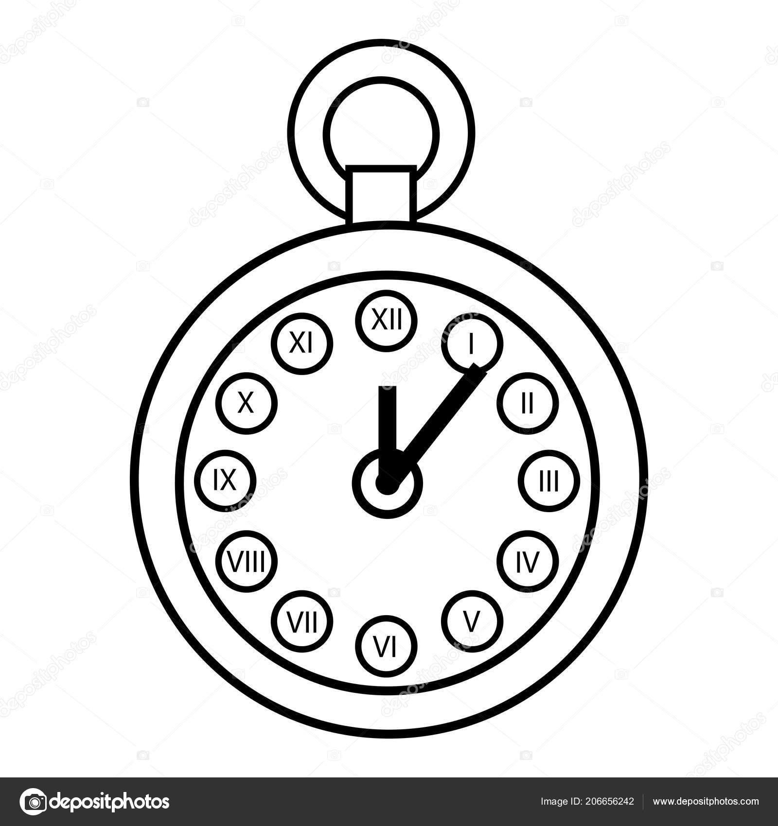 Libro Colorear Para Niños Reloj Bolsillo Vector De Stock