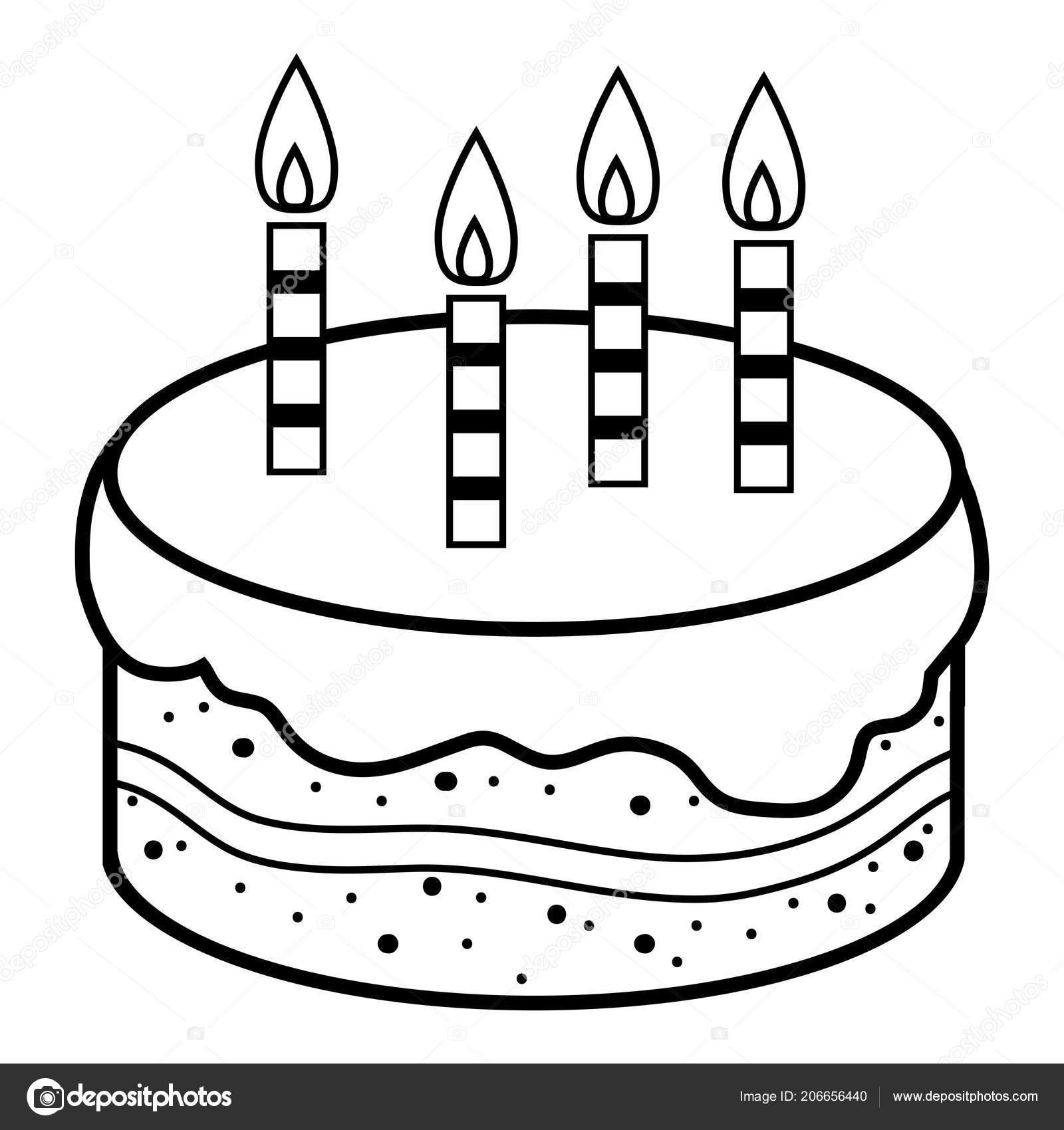 Coloriage Gateau Cake.Livre Coloriage Pour Les Enfants Gateau Anniversaire Image