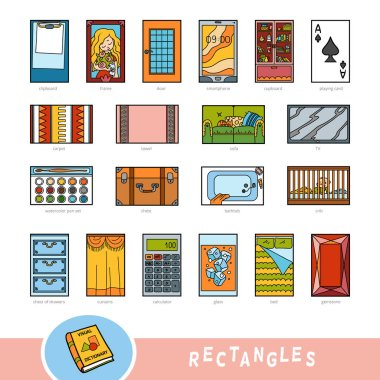 Colorful set of rectangle shape objects. Visual dictionary for children about geometric shapes. Education set for studying geometry. stock vector