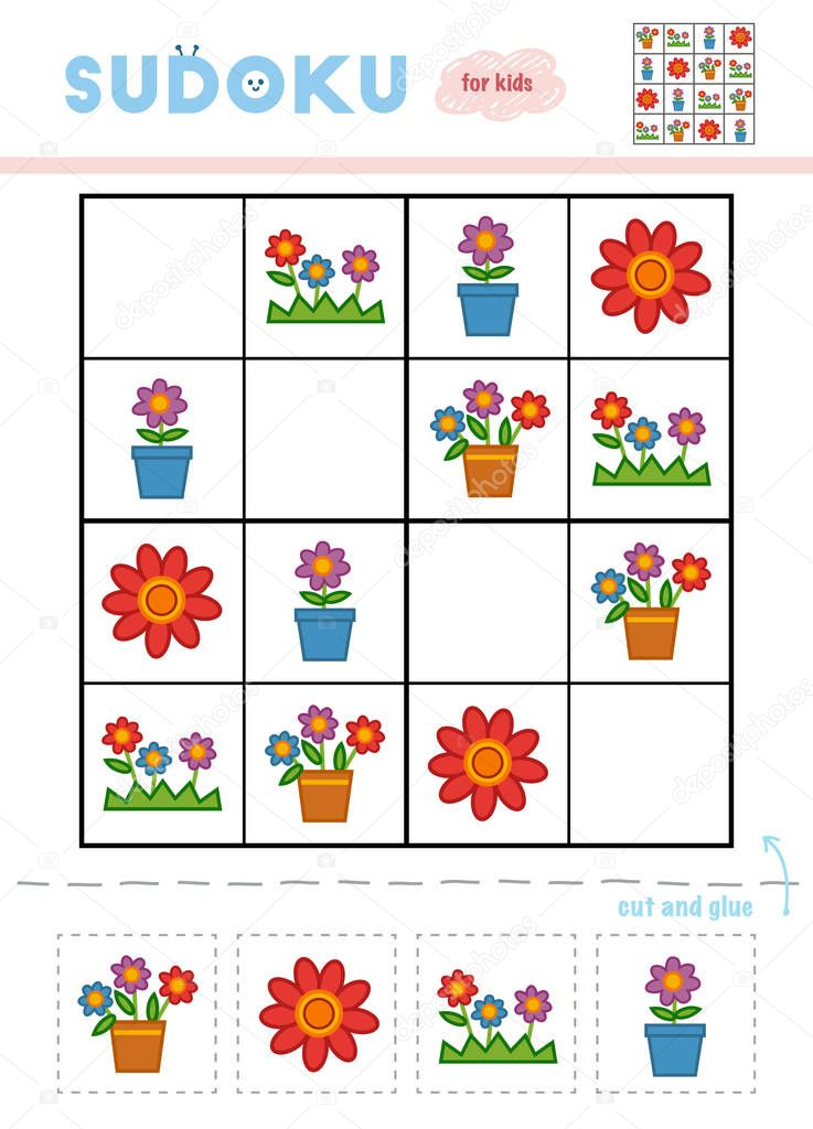 Sudoku for children, education game. Cartoon set of Flowers. Use scissors and glue to fill the missing elements