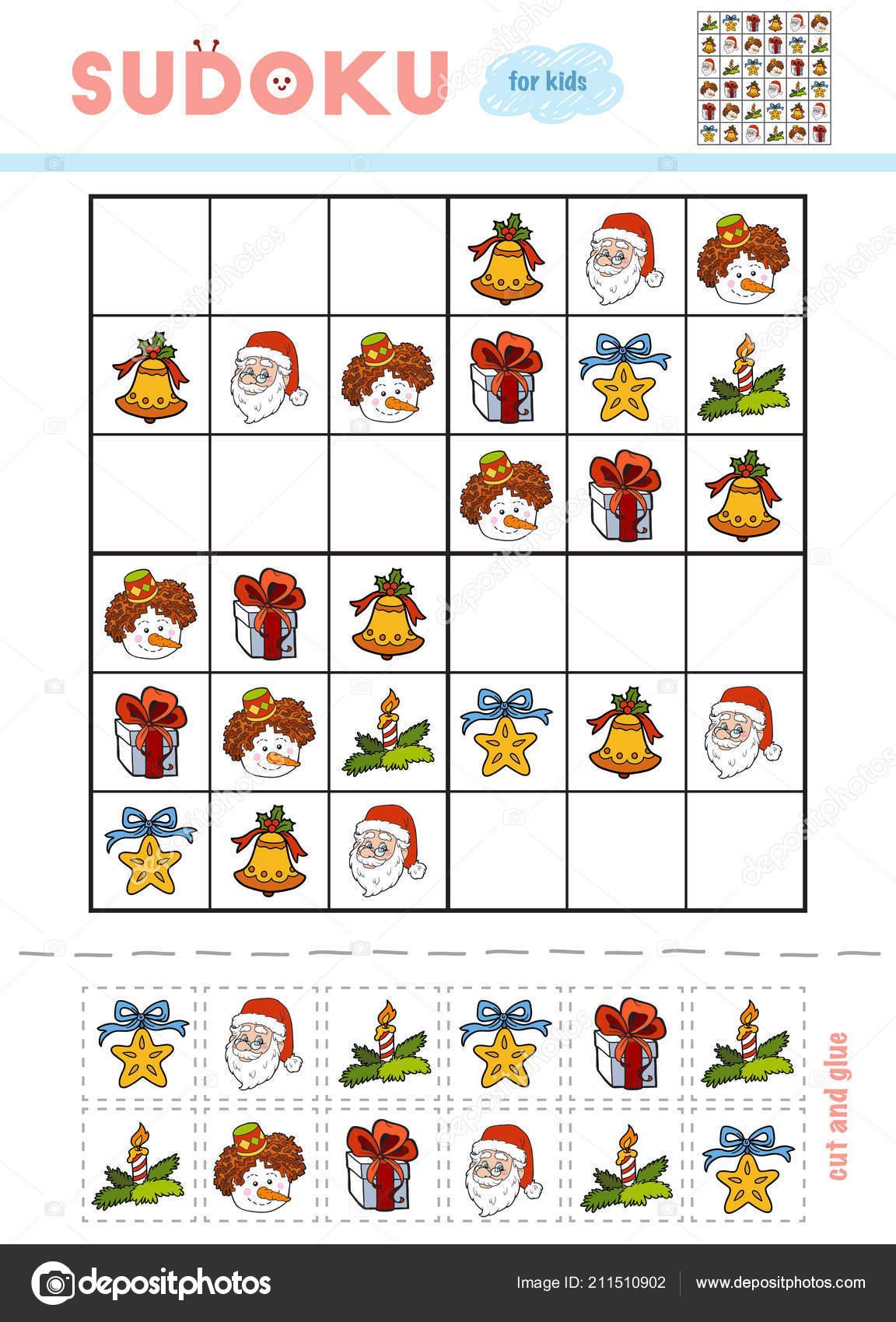 Christmas Sudoku.Sudoku Children Education Game Set Christmas Items Bell