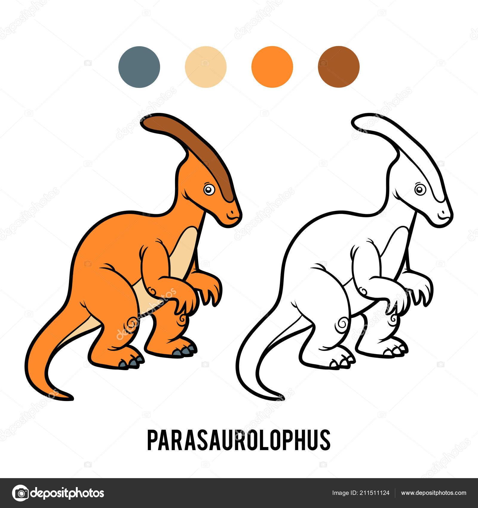 Livre Coloriage Pour Les Enfants Parasaurolophus Image Vectorielle