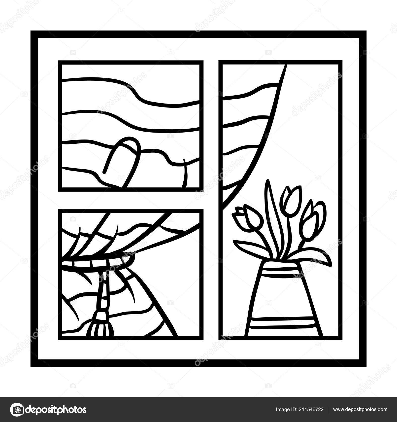 Libro colorare bambini finestra con tende fiori for Finestra con fiori disegno