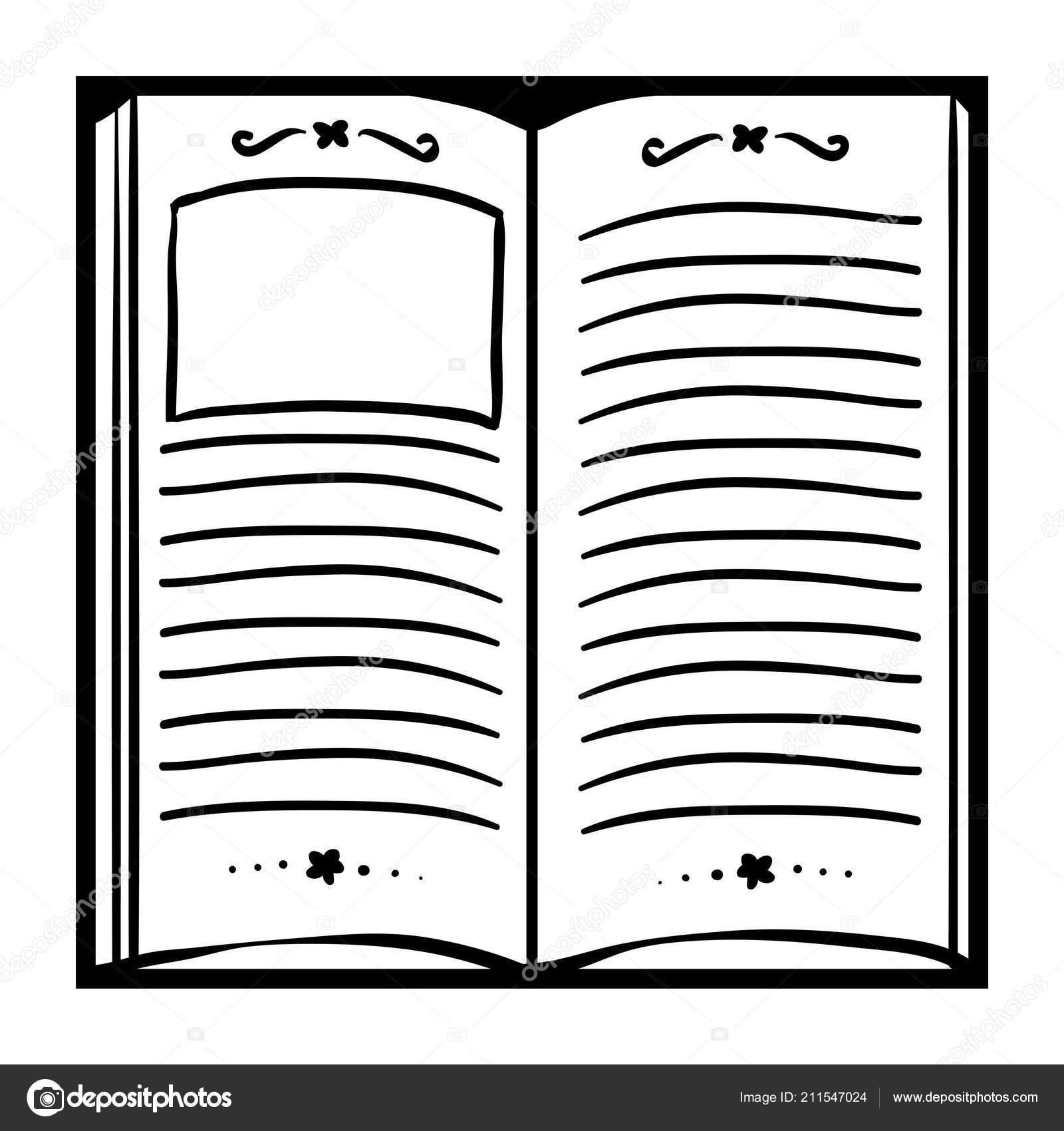 Libro Colorare Bambini Libro Aperto Vettoriali Stock