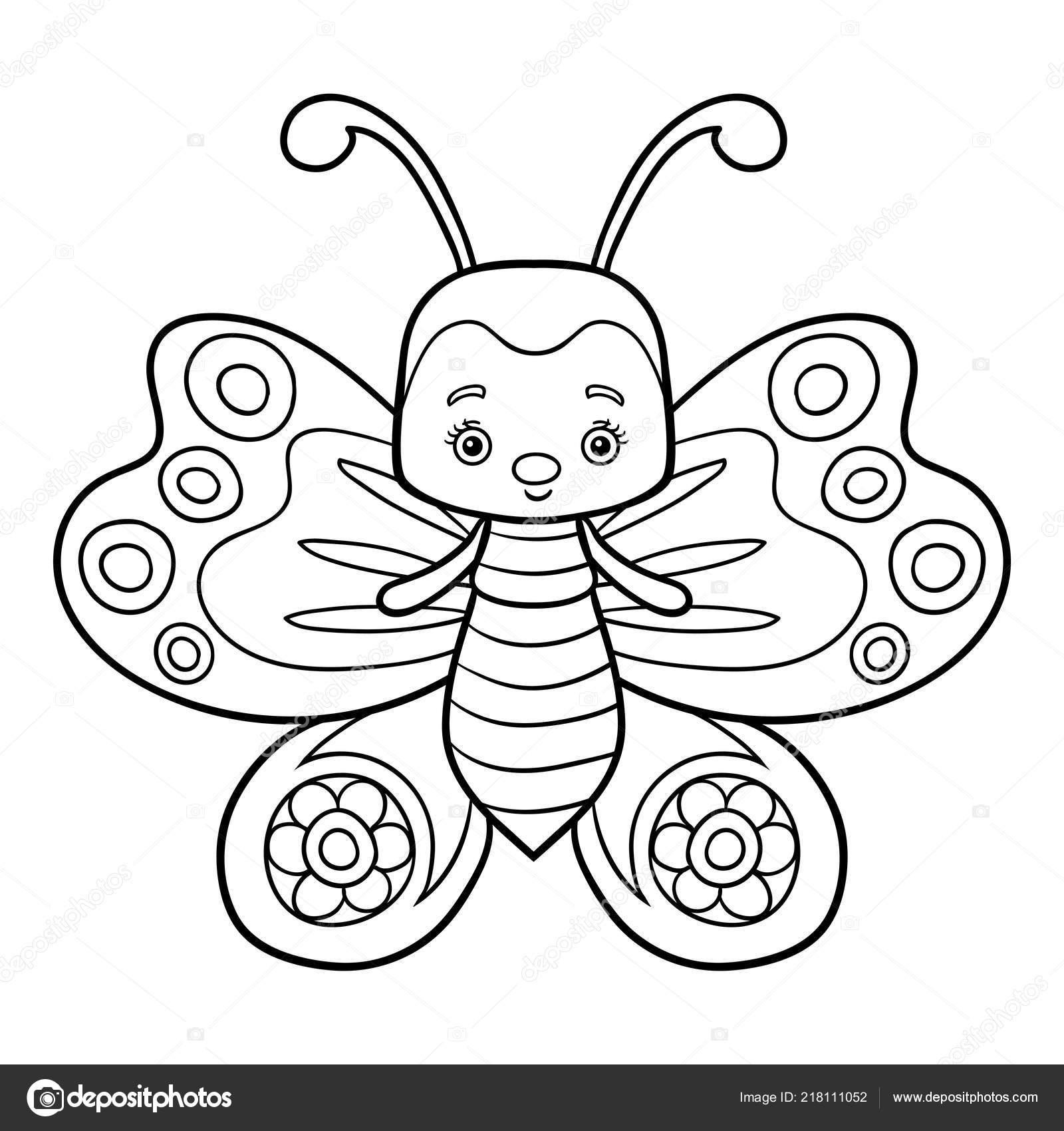 Libro Colorear Para Niños Mariposa Vector De Stock Ksenyasavva