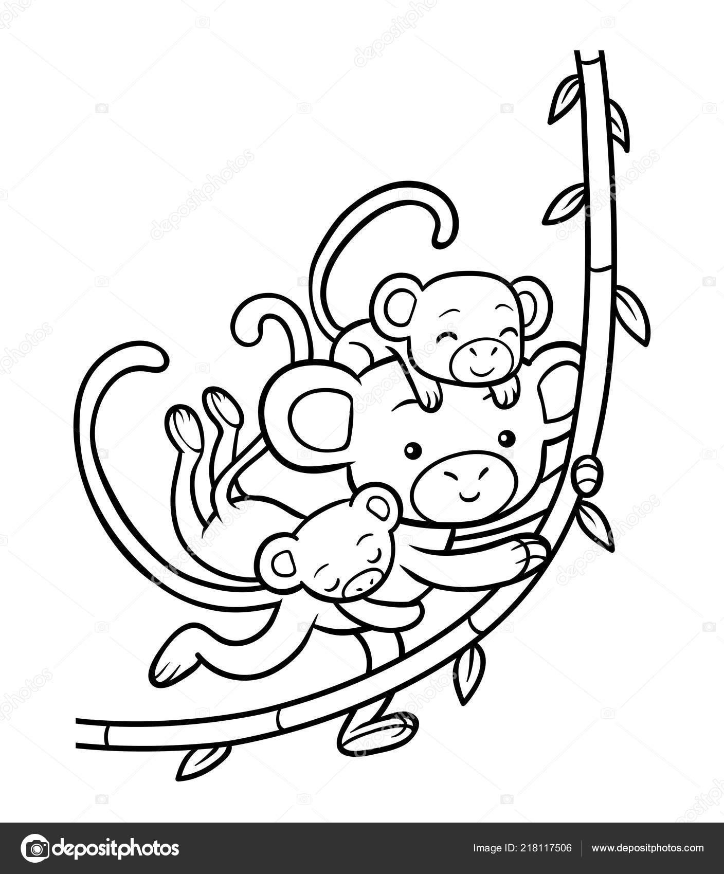 Libro Colorear Para Niños Familia Monos Vector De Stock