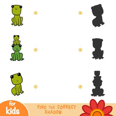 Find the correct shadow, education game for children, Set of frogs