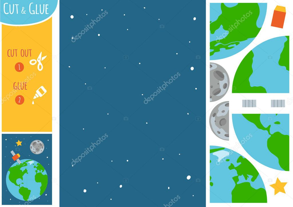 Education paper game for children, Earth Moon and satellite. Use scissors and glue to create the image.