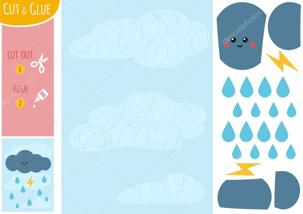 Education paper game for children, Thundercloud with lightning and raindrops in the sky. Use scissors and glue to create the image.