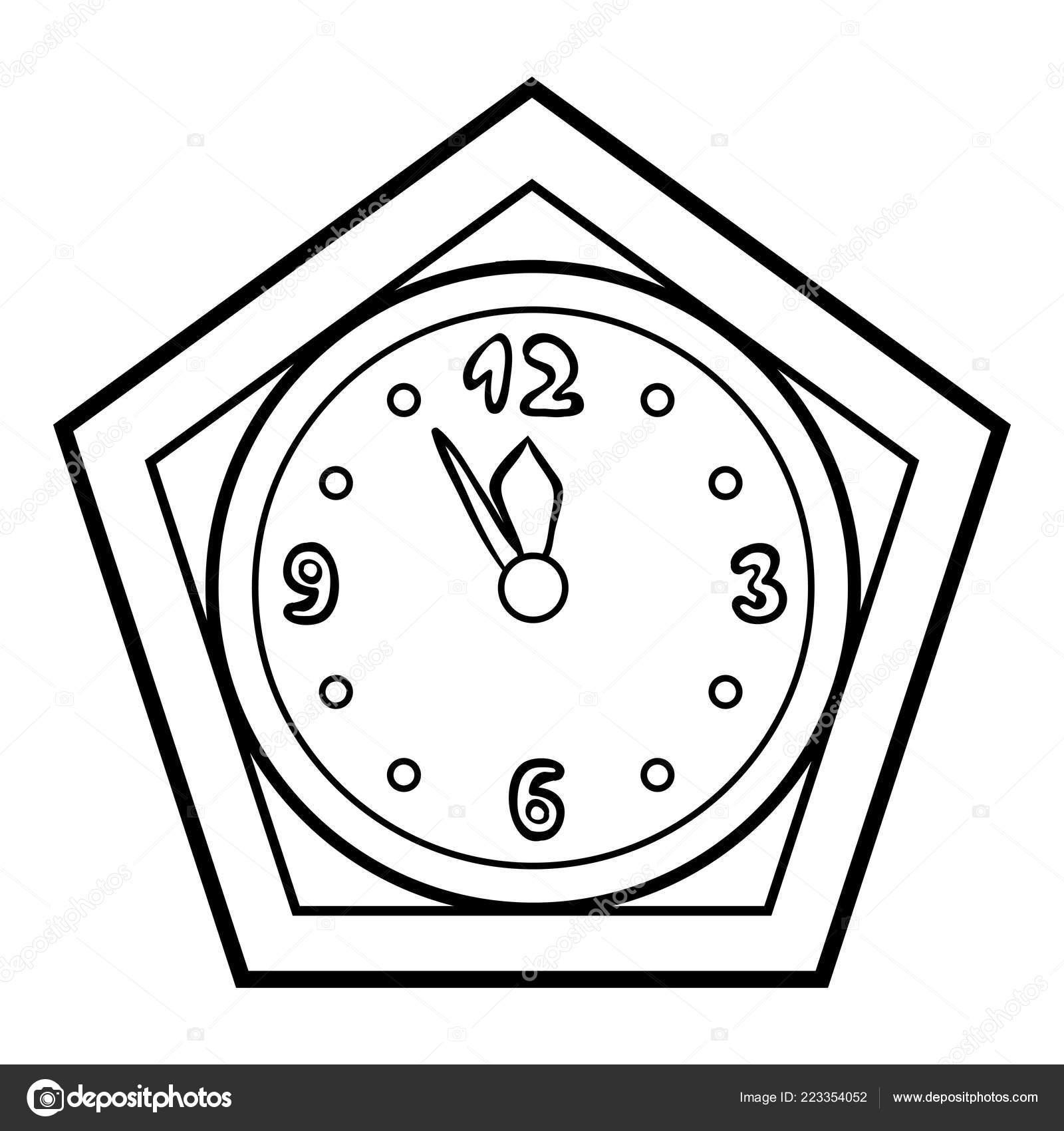 çocuklar Için Boyama Kitabı Saat Stok Vektör Ksenyasavva 223354052