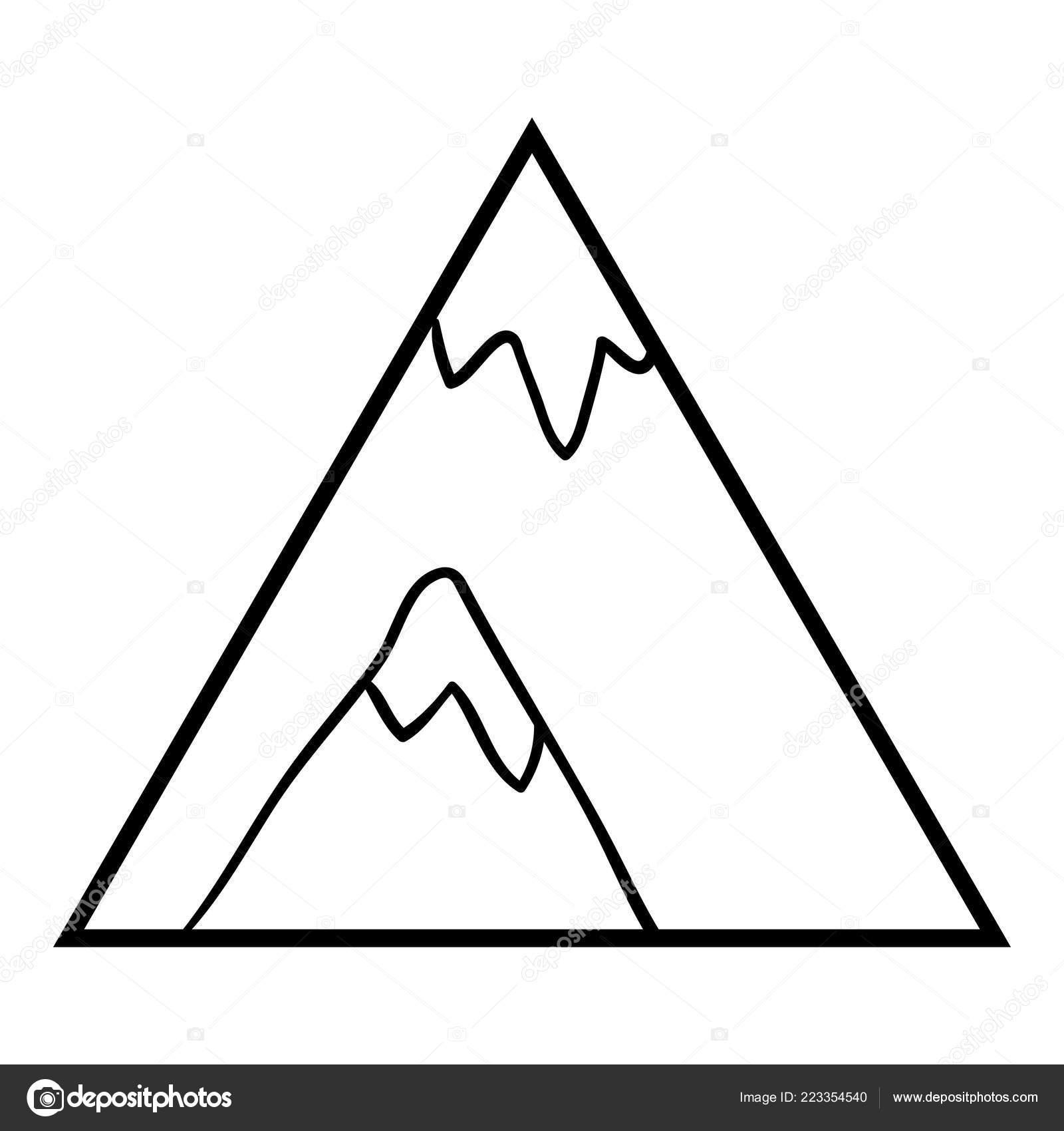 Libro Colorear Para Niños Montaña Vector De Stock