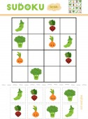 Sudoku pro děti, vzdělávací hra. Sada zeleniny s legrační obličeje. Použít nůžky a lepidlo vyplnit chybějící prvky
