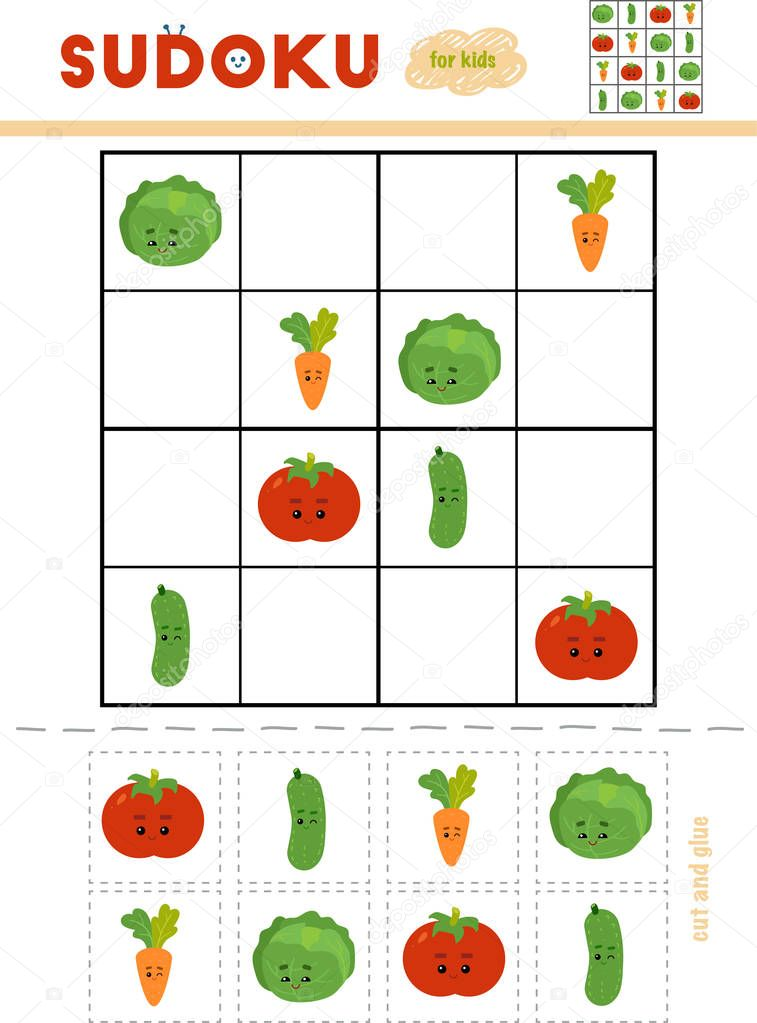 Sudoku for children, education game. Set of vegetables with funny faces. Use scissors and glue to fill the missing elements