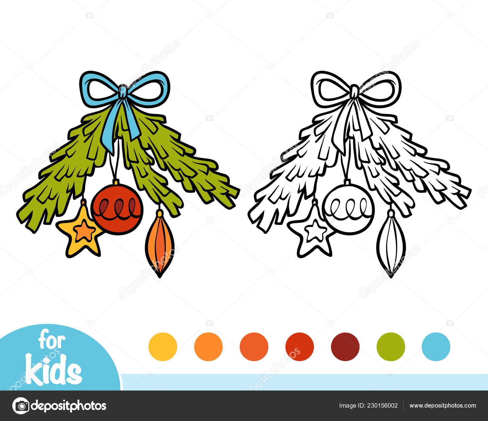 Coloriage Arbre Branche.Livre Coloriage Pour Les Enfants Une Branche Arbre Noel Decore