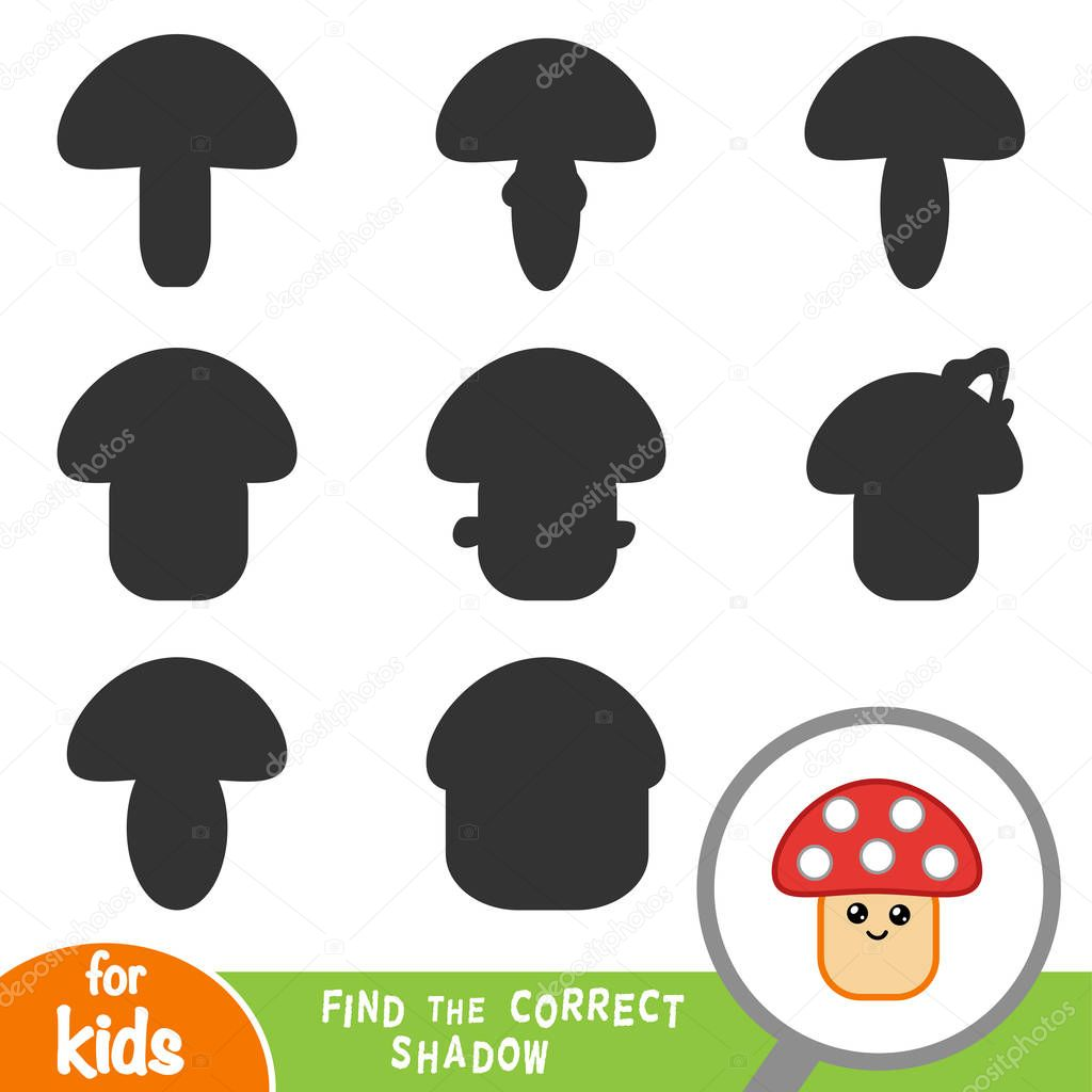 Find the correct shadow, education game for children, Mushroom