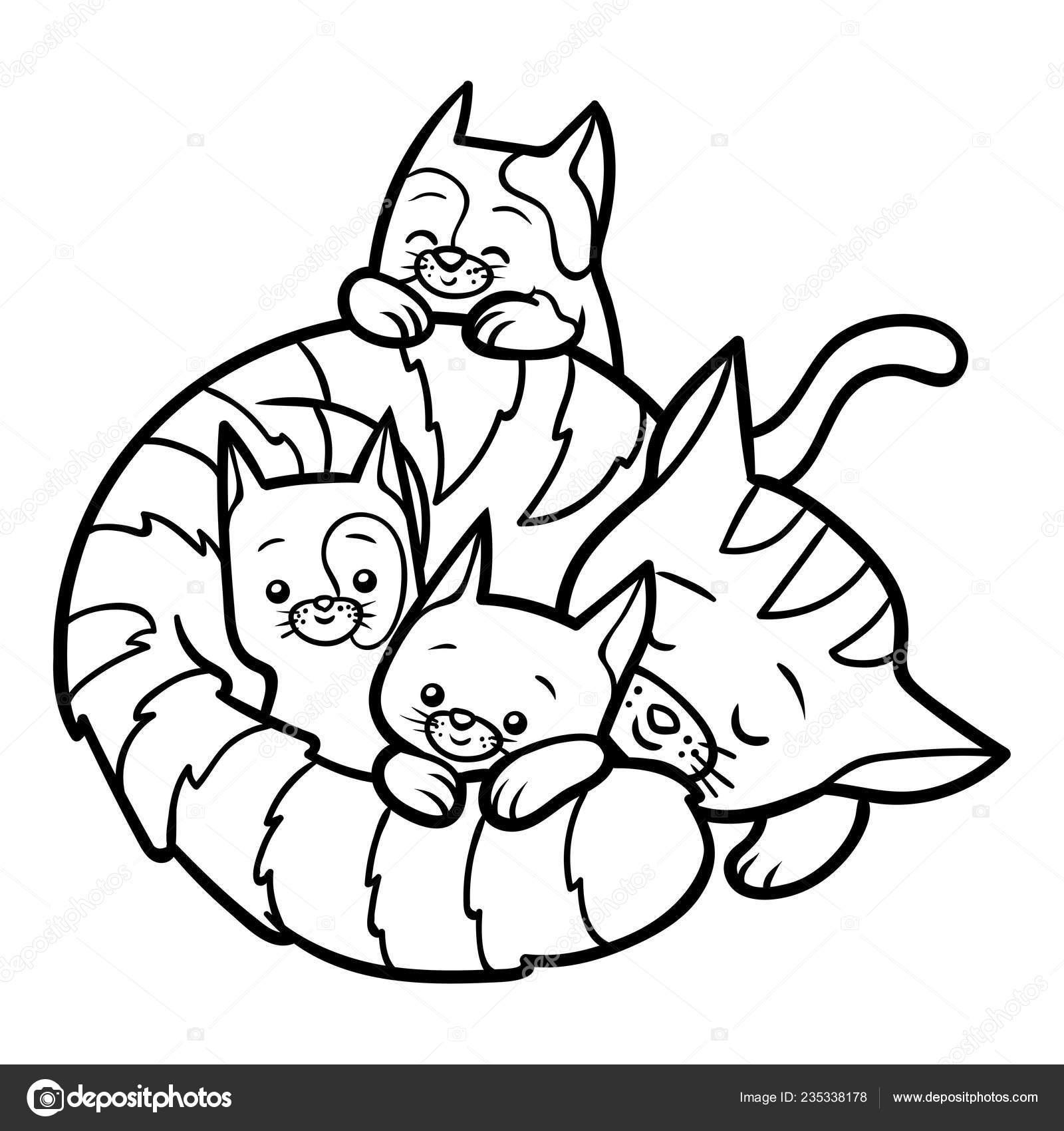 раскраска детей четыре кошки векторное изображение