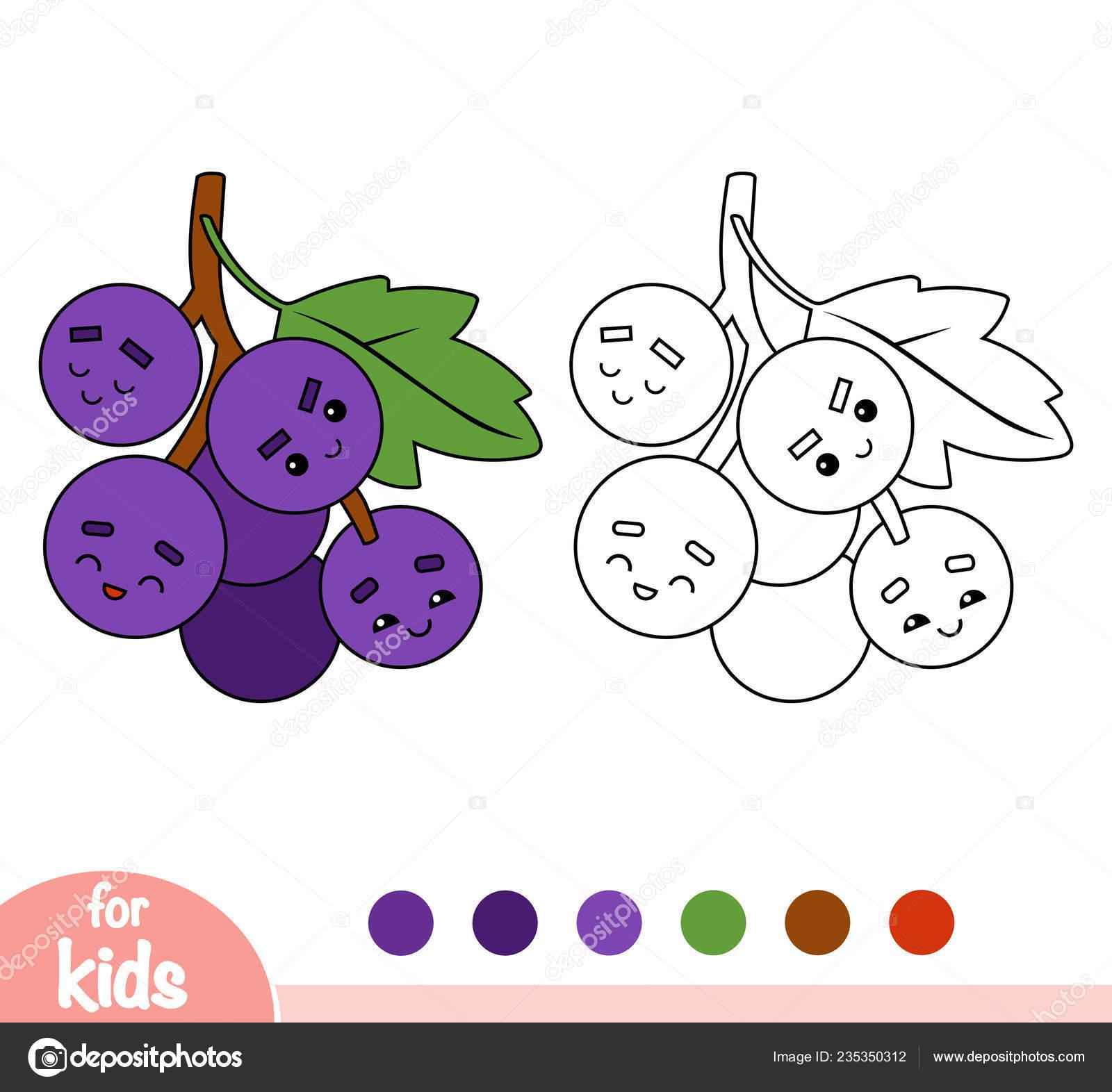 Libro Colorear Para Niños Uvas Con Una Cara Linda Vector De Stock