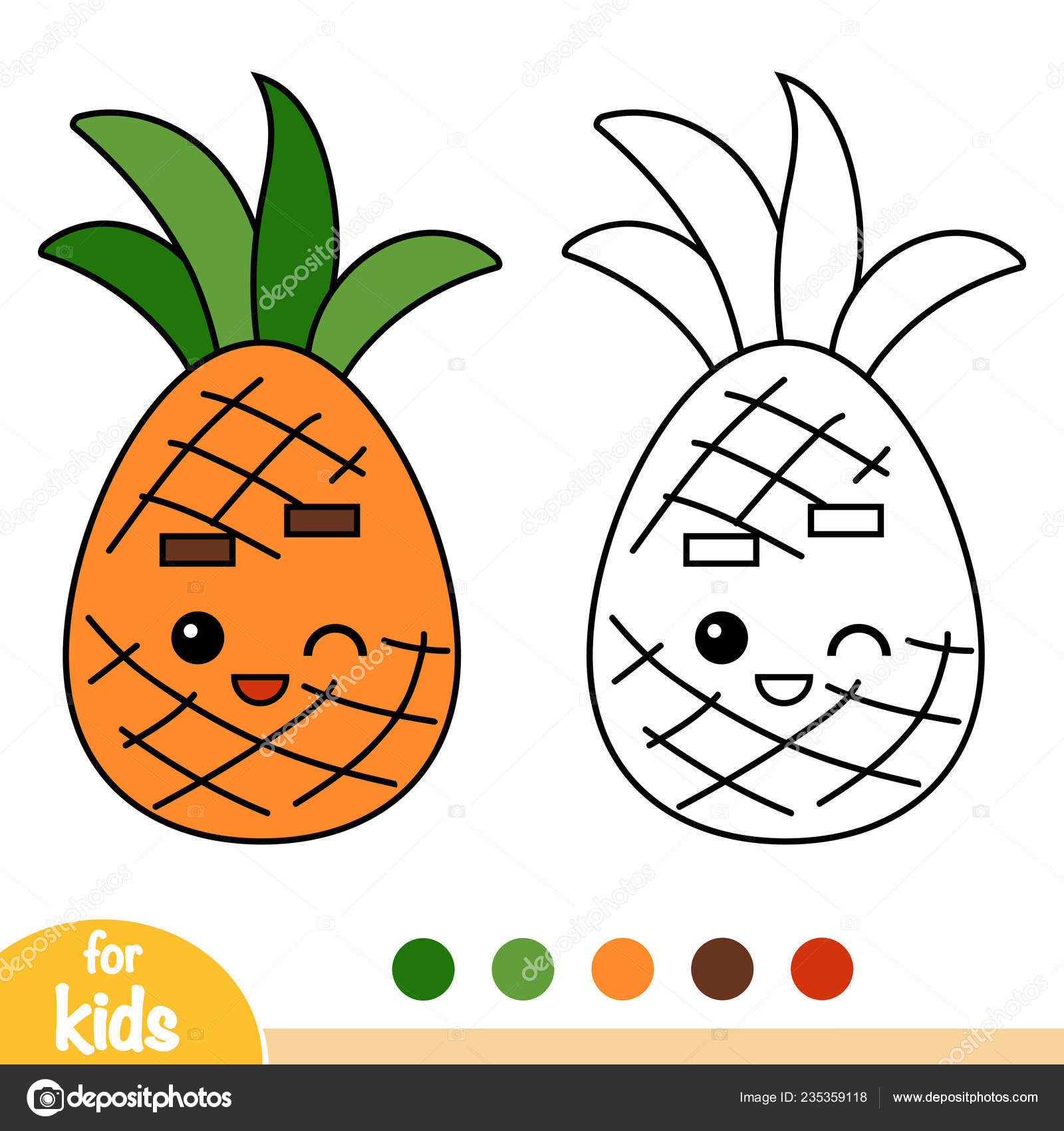 Libro Colorare Bambini Ananas Con Viso Carino Vettoriali Stock