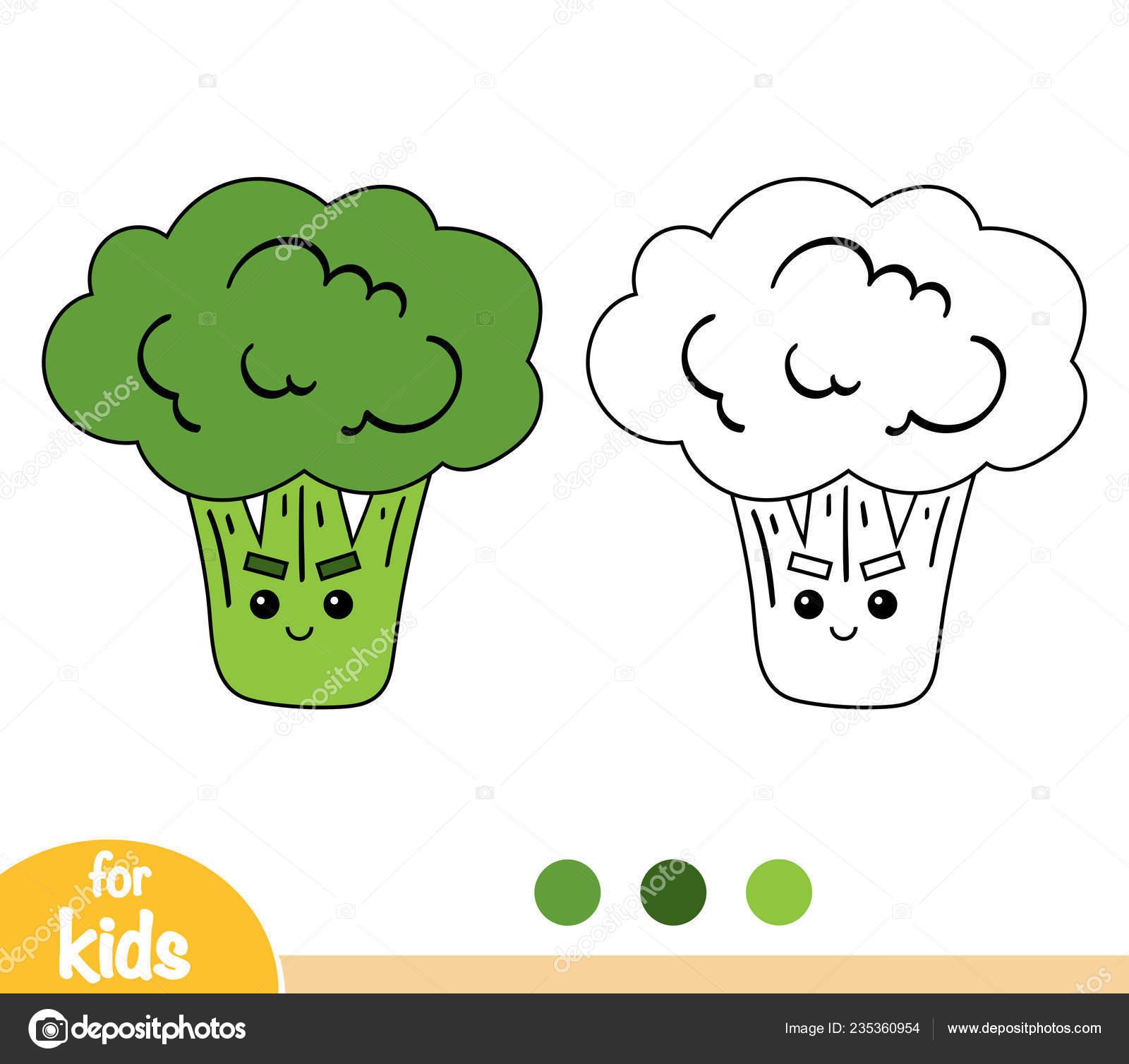 Libro Colorare Bambini Broccoli Con Viso Carino Vettoriali Stock