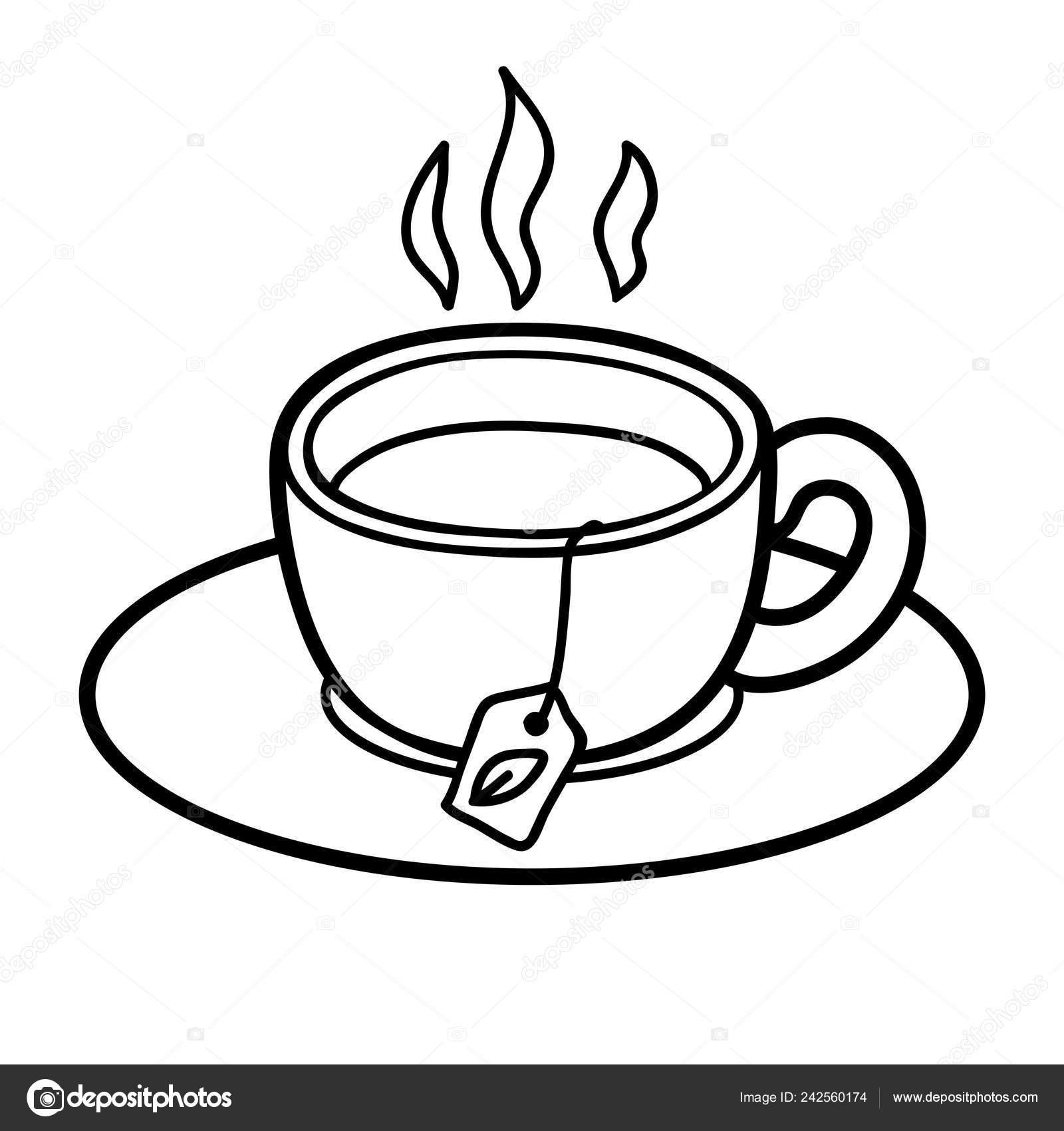 раскраска детей чашка чая векторное изображение