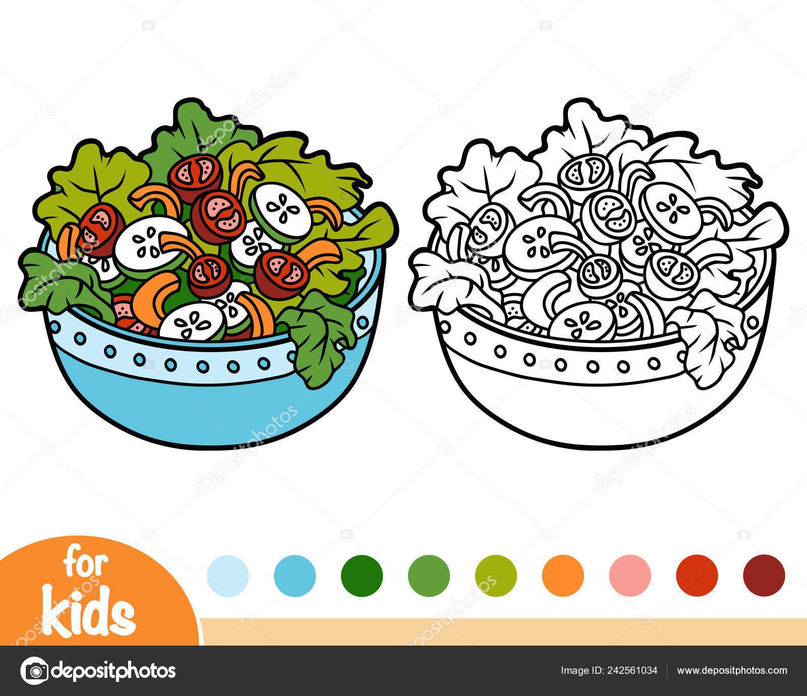 Libro Colorear Para Niños Fuente Ensalada Verduras Vector