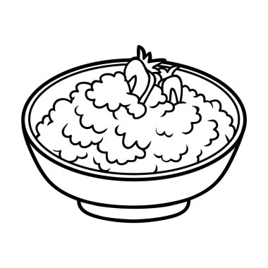 Coloring book for children, Cottage cheese with berries in a bowl
