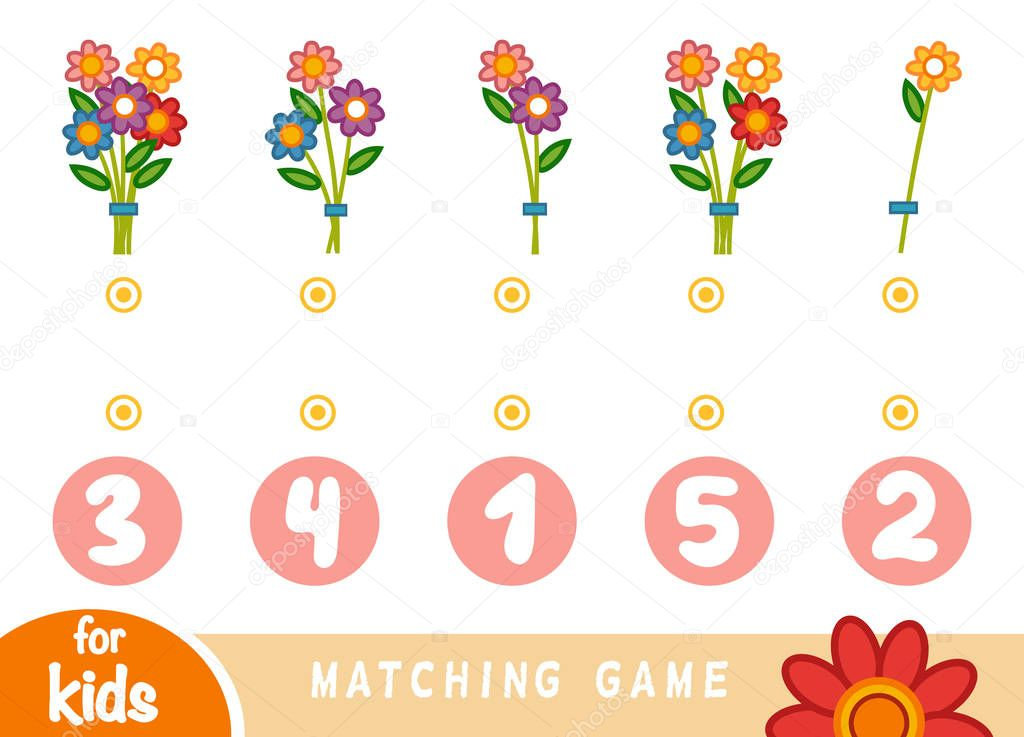 Matching game for children. Count how many flowers and choose the correct number