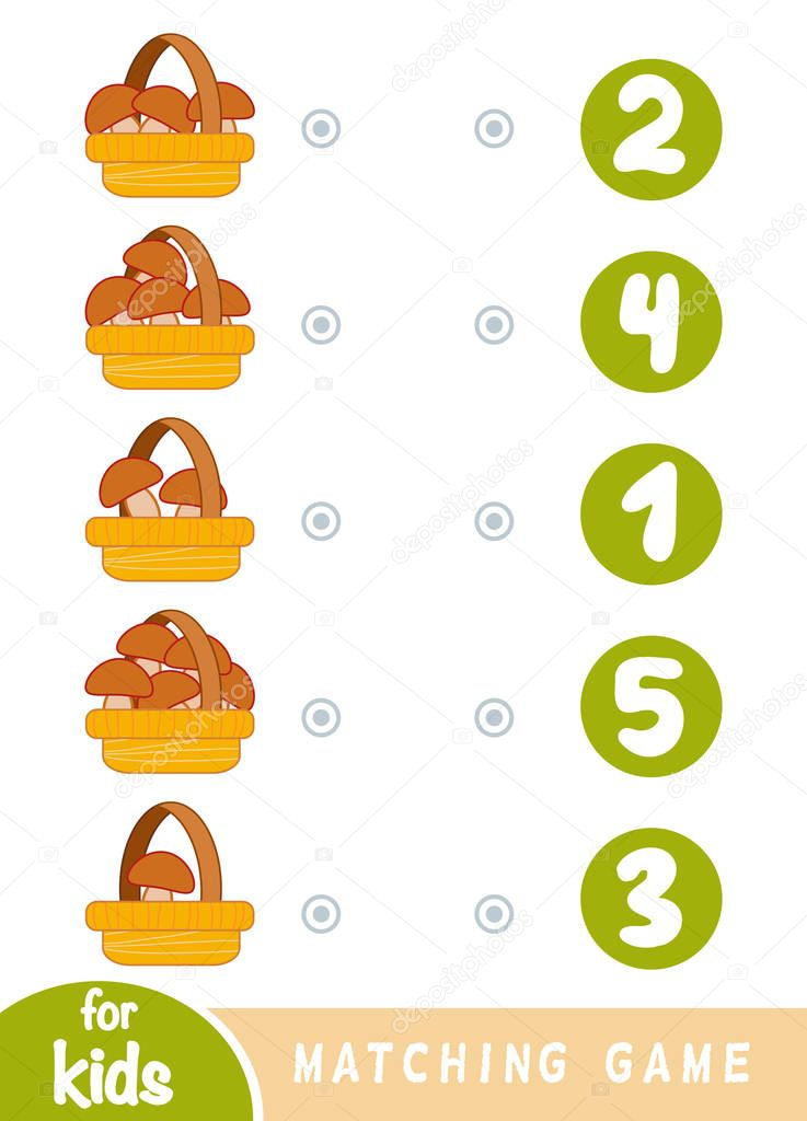 Matching game for children. Count how many mushrooms in the baskets and choose the correct number