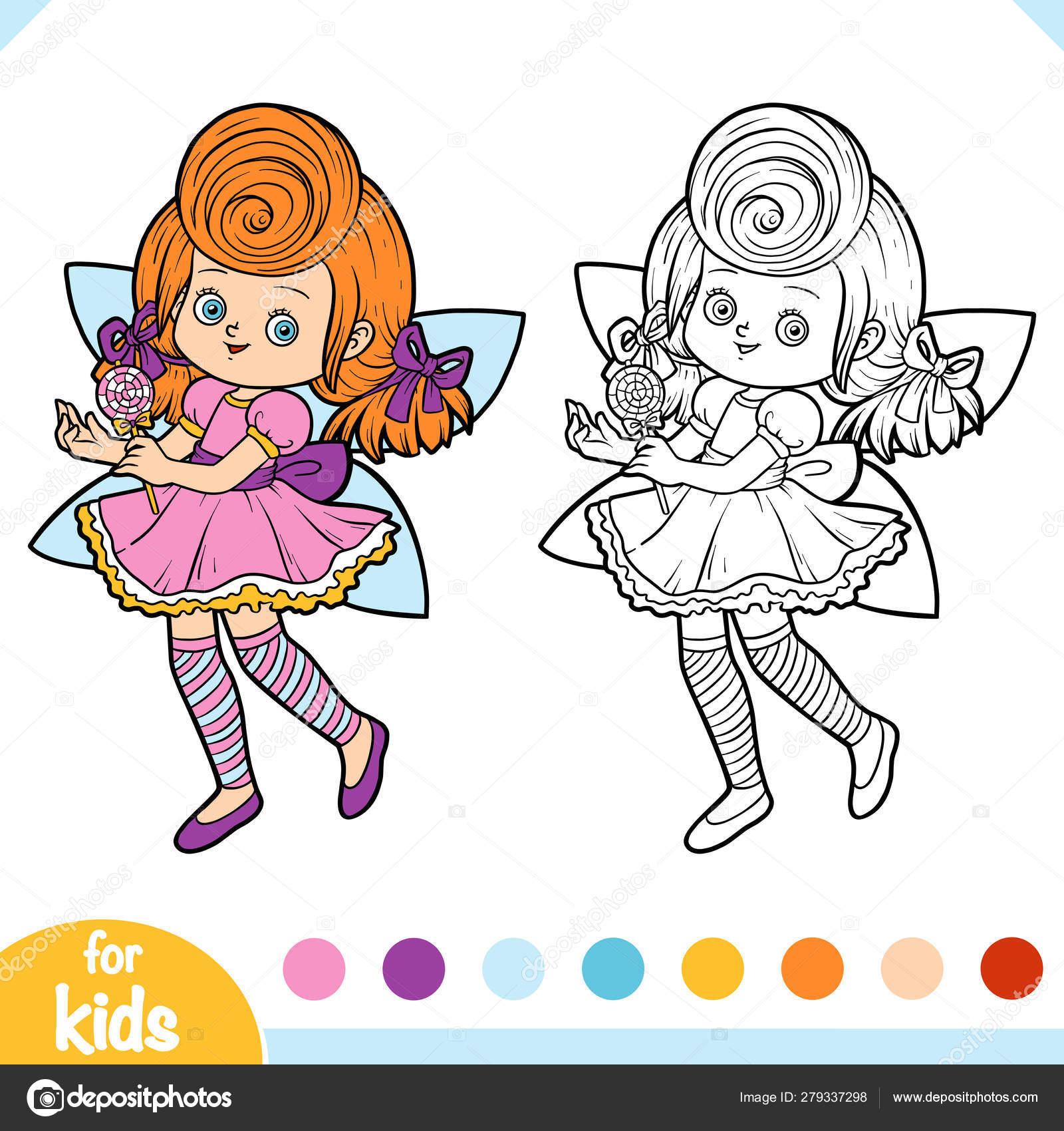 раскраска конфеты фея векторное изображение