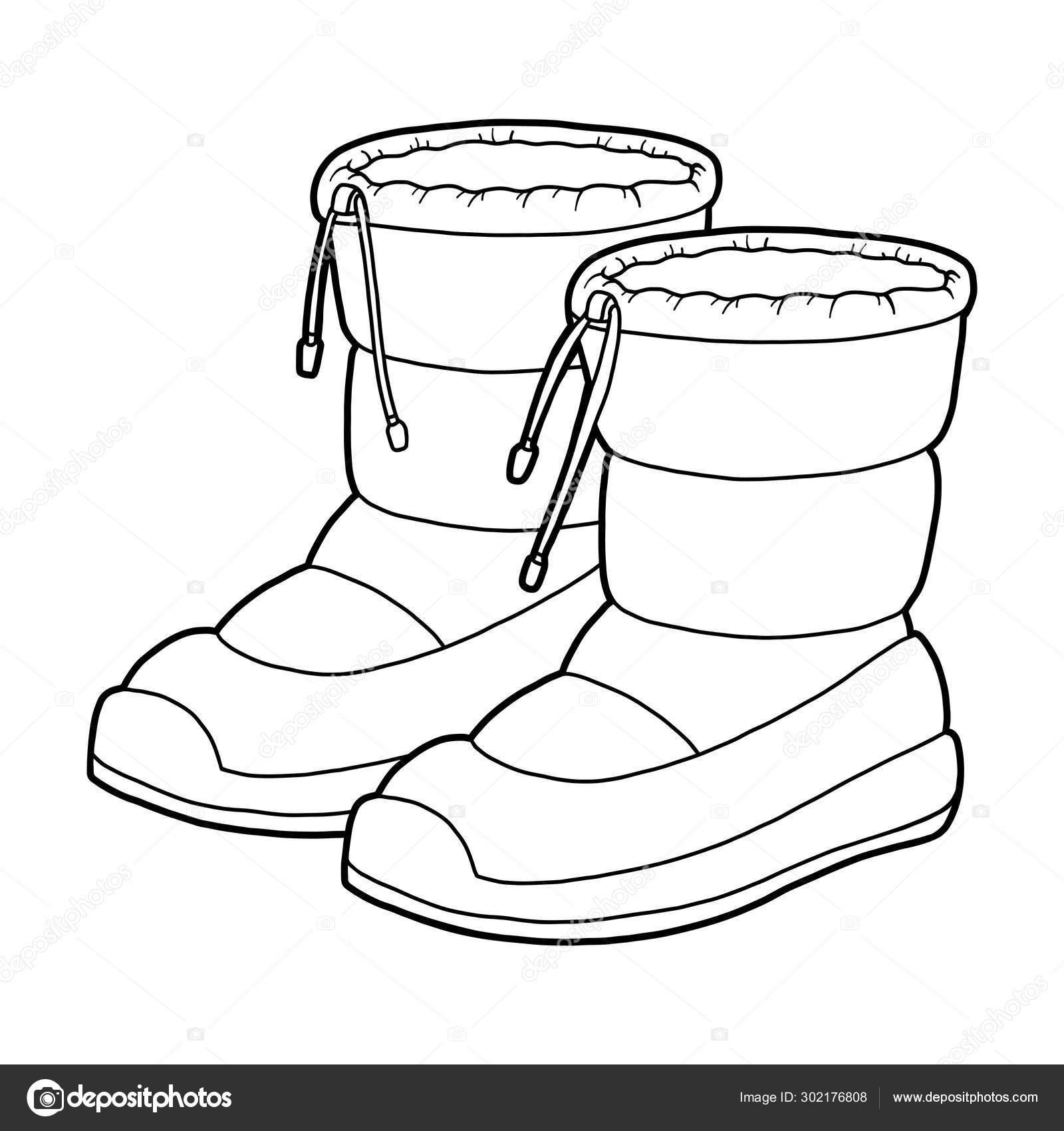 Coloring book, cartoon shoe collection. Waterproof snow