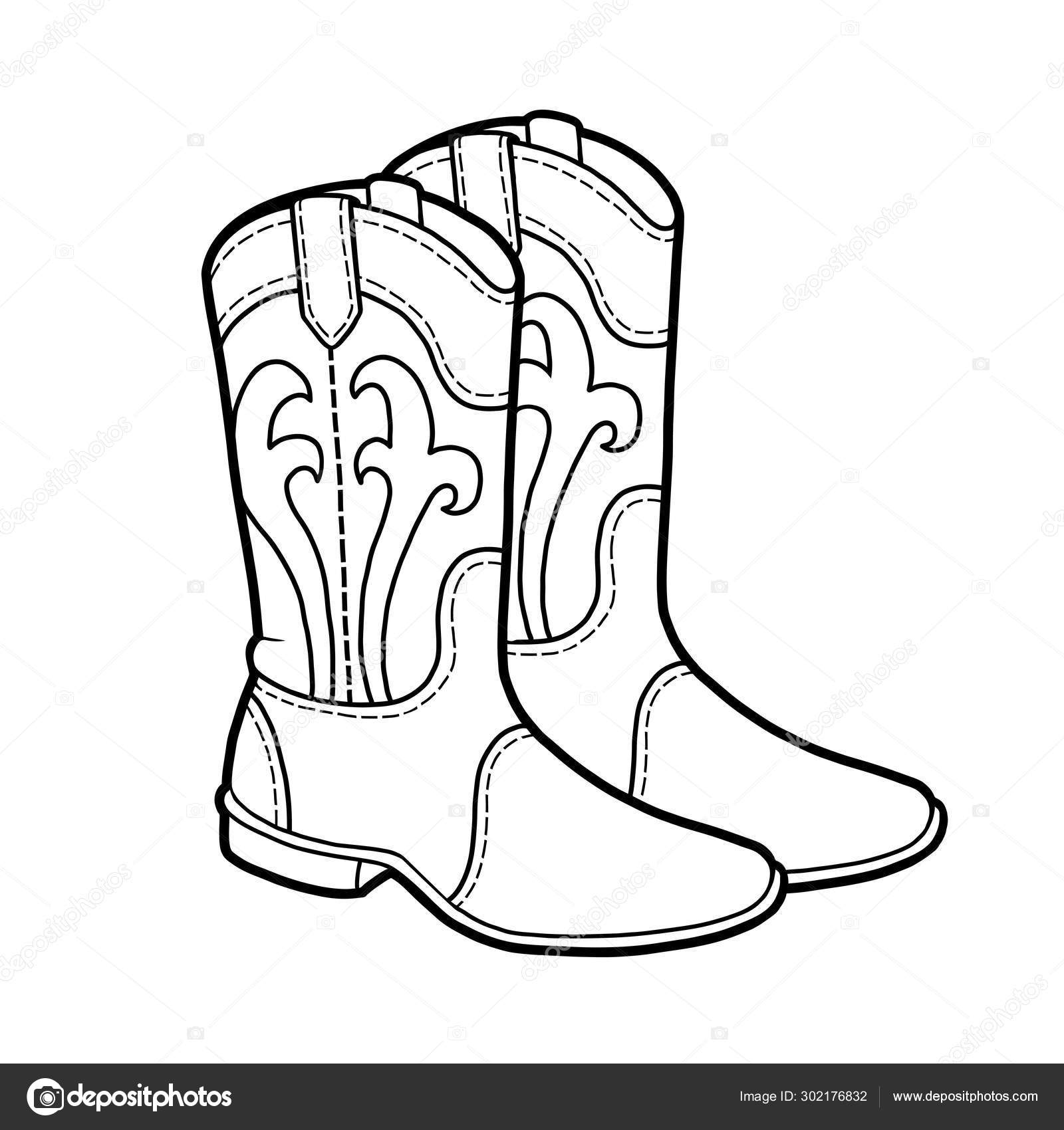 Coloring book, cartoon shoe collection. Western boots ...