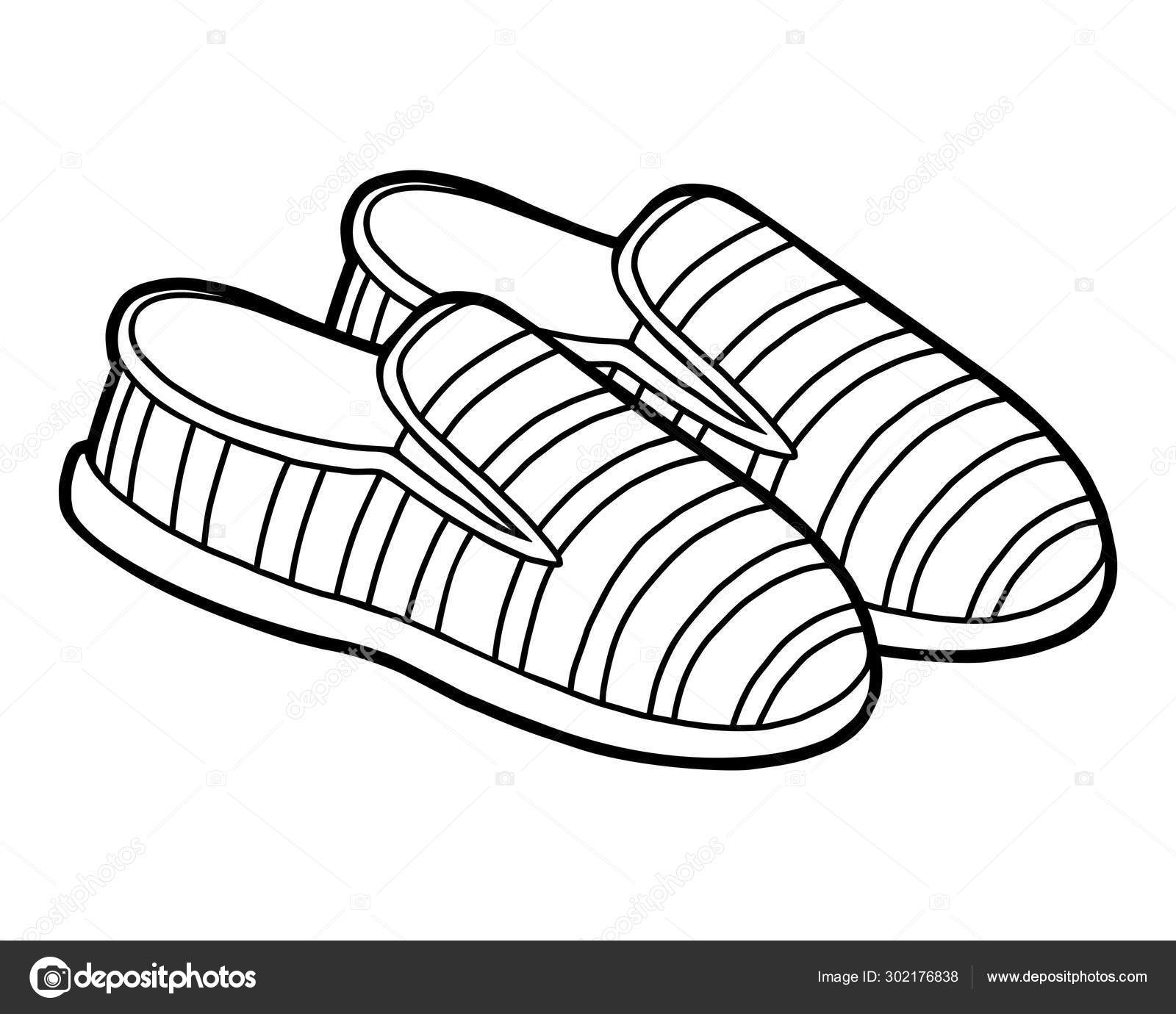 Coloring book, cartoon shoe collection. Slip on shoes ...