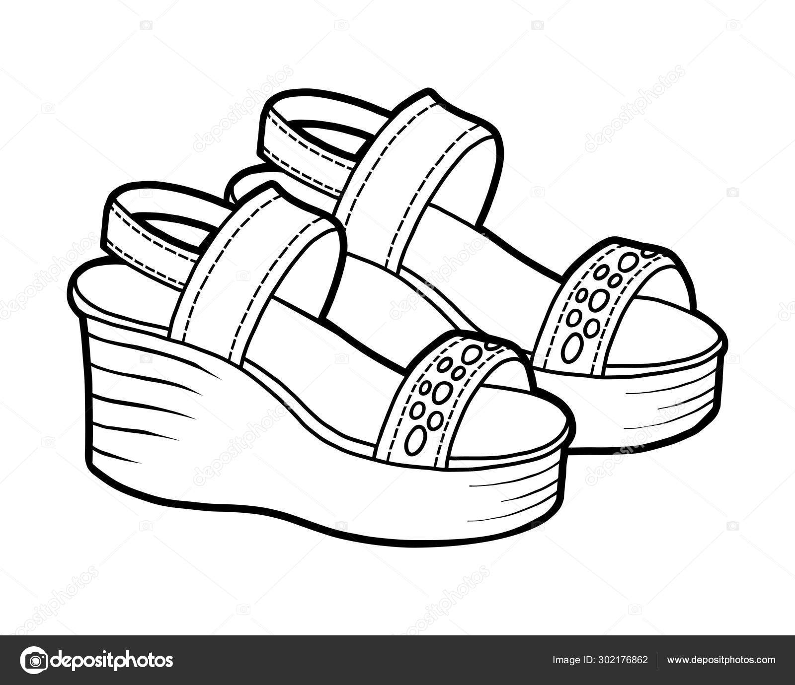 Libro Para Colorear Colección De Zapatos De Dibujos