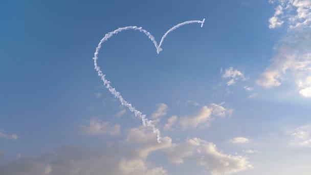 Airplane draws Heart shape on the sky