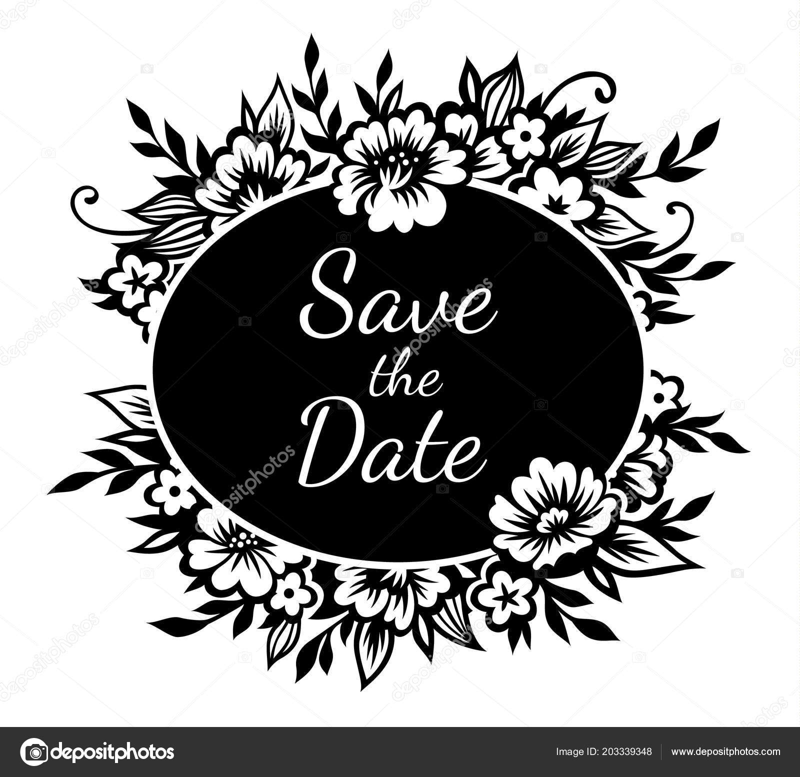 Romantic Oval Frame Stylized Black Flowers Twigs Template Wedding