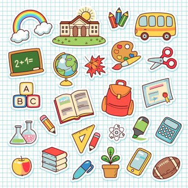 Set of cartoon objects for elementary school. Collection cute stickers on checkered backgroun