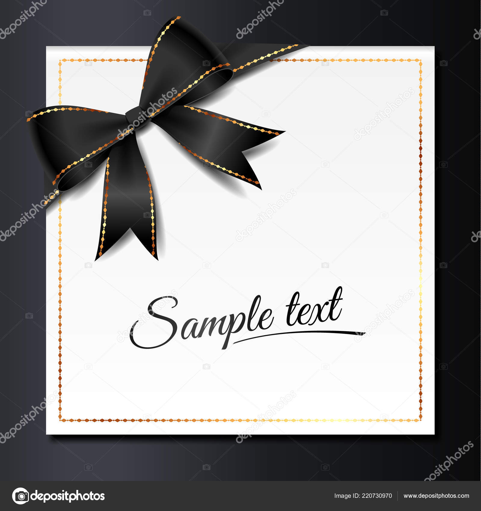 Template Elegant Invitation Card Black Bow Golden Fram