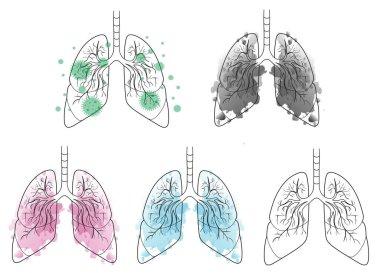 Watercolor Lungs set pack. clean, healthy, sick. smokers lungs.virus. coronavirus respiratory. human body icon